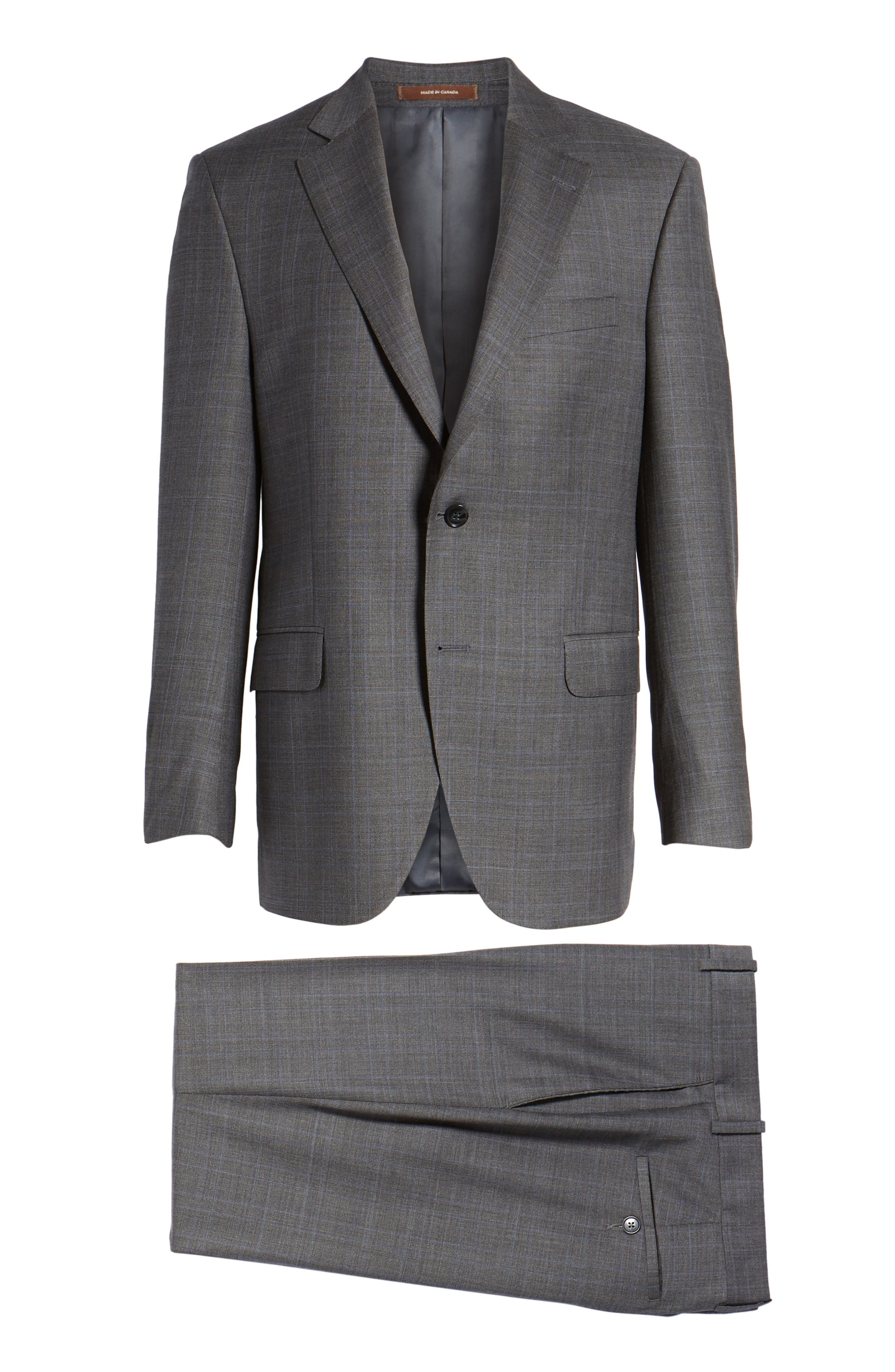 Classic Fit Windowpane Wool Suit,                             Alternate thumbnail 8, color,