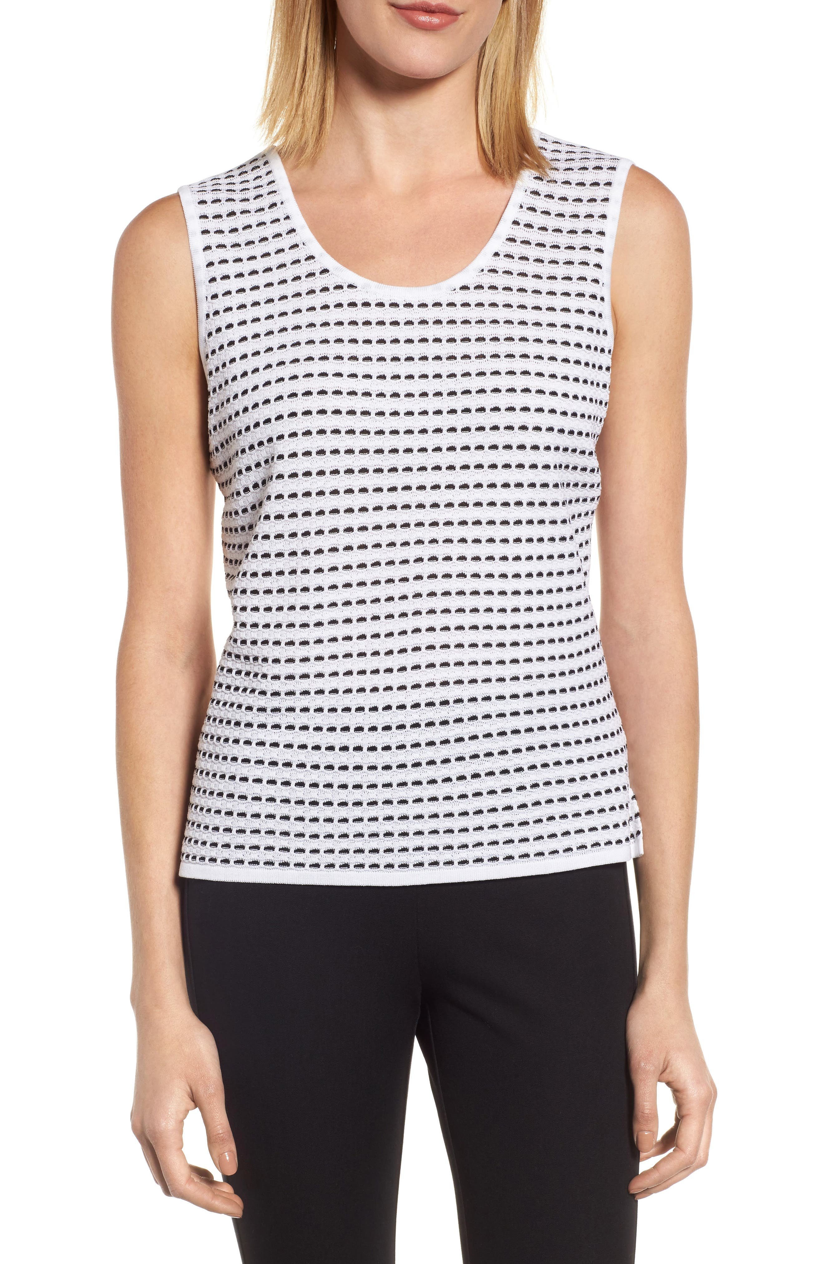 Scoop Neck Jacquard Knit Tank,                             Main thumbnail 1, color,                             WHITE/ BLACK