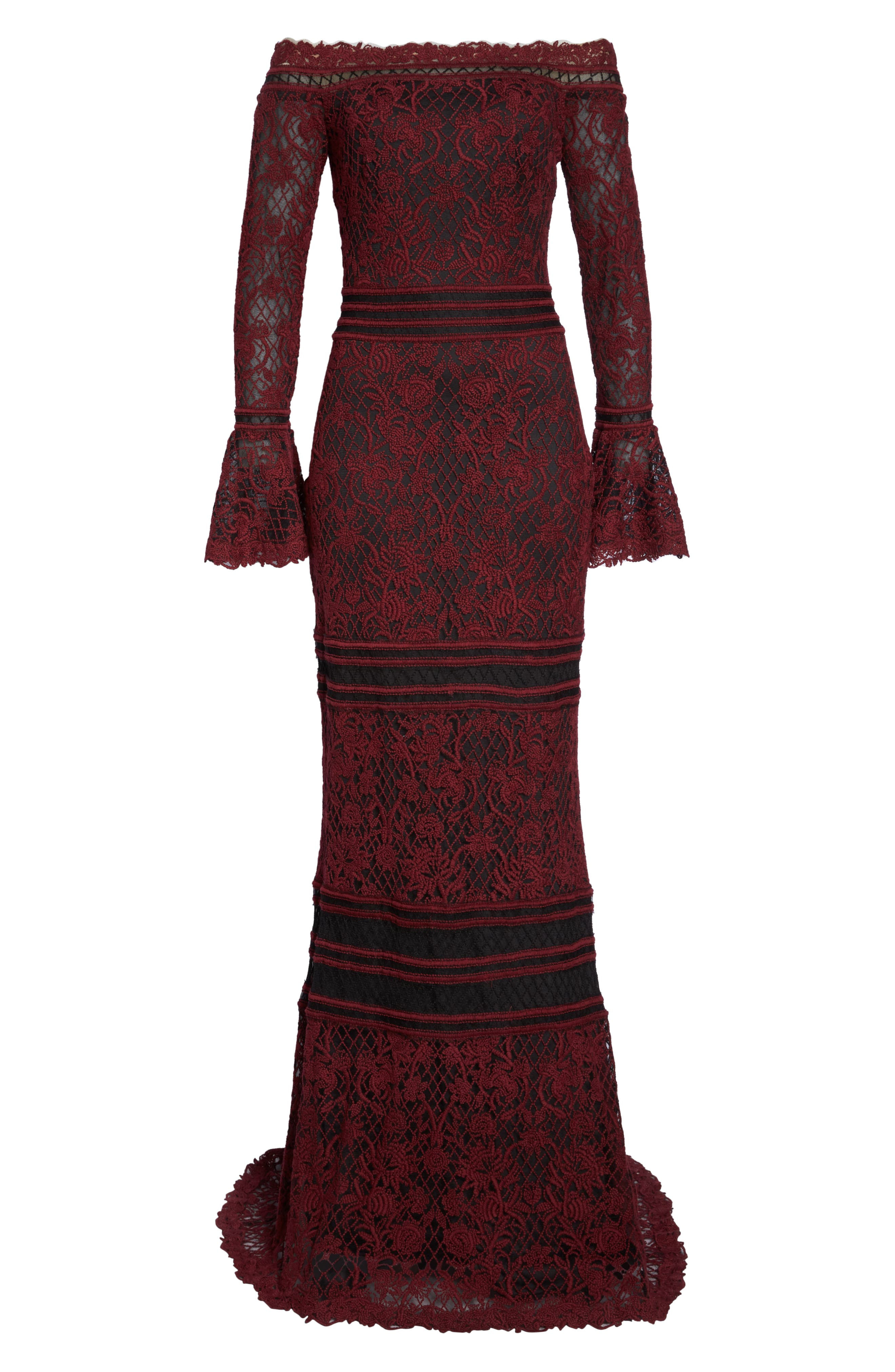 Bell Sleeve Embroidered Lace Gown,                             Alternate thumbnail 6, color,                             AUTUMN/ BLACK