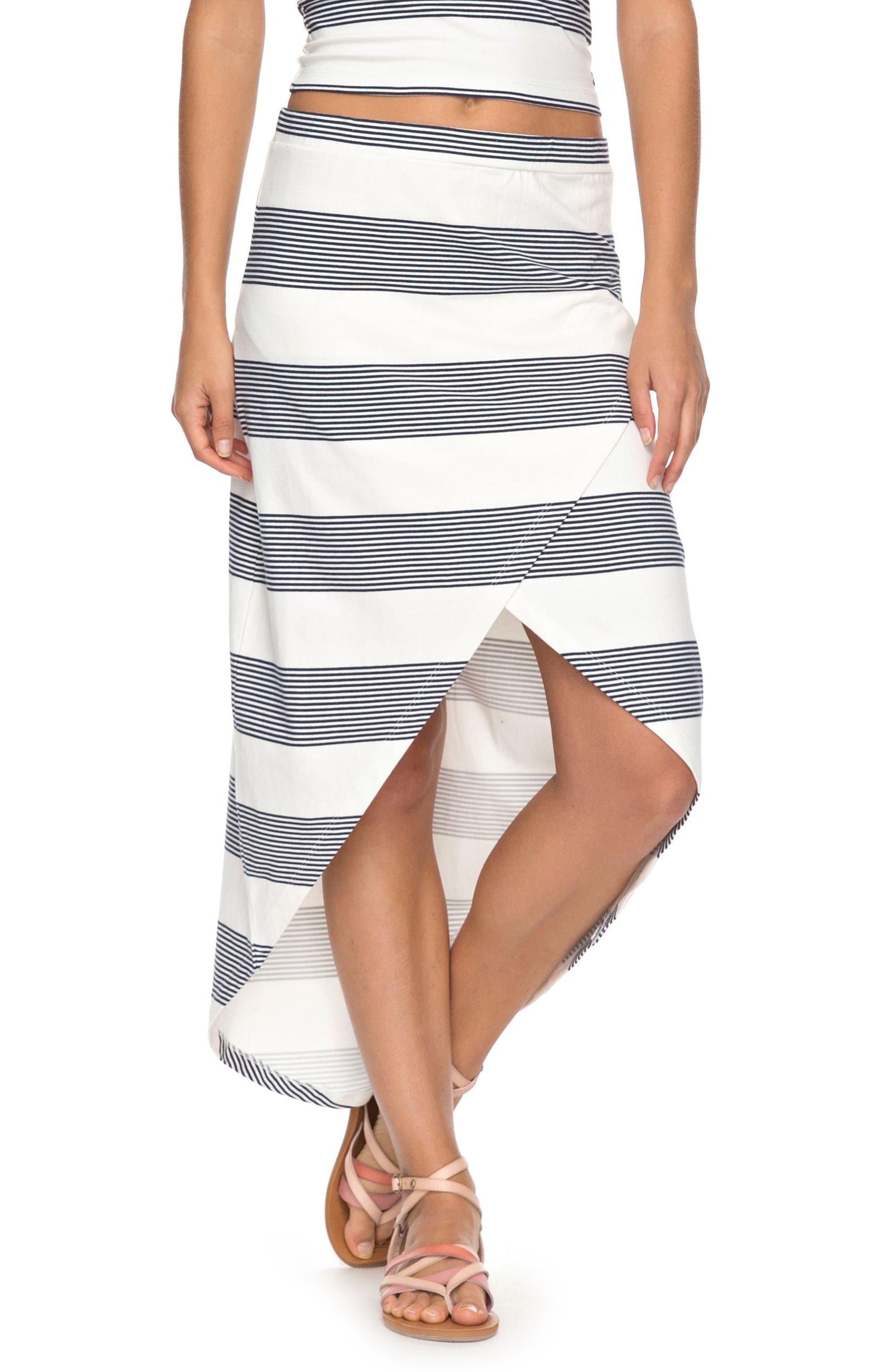 Romantic Ocean Stripe High/Low Skirt,                         Main,                         color, 900