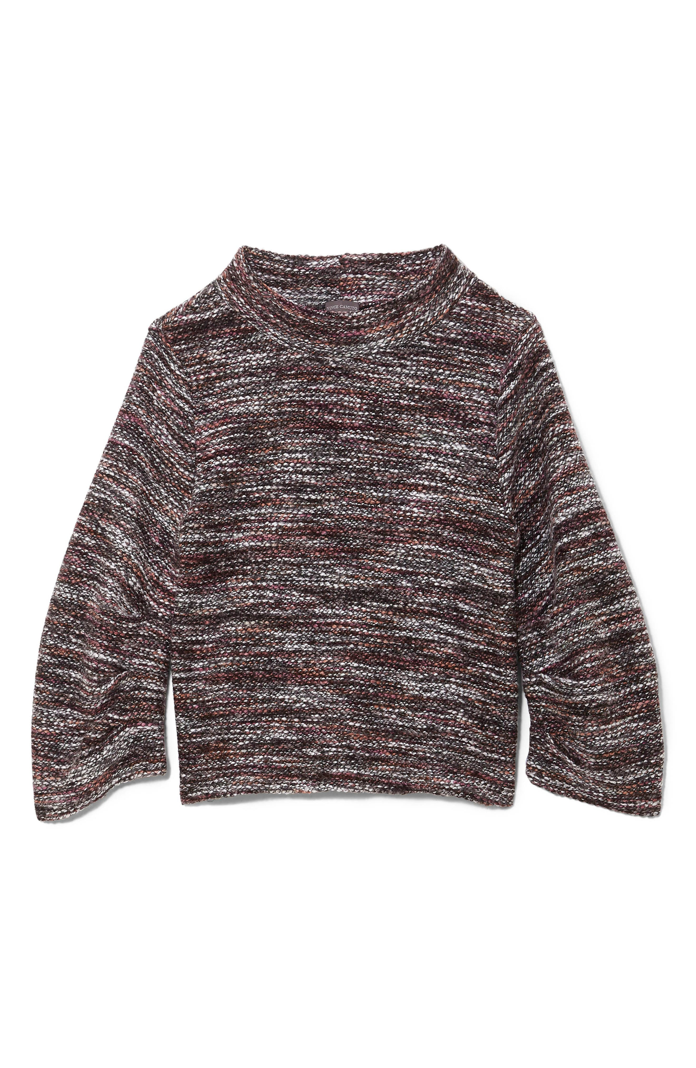 Gathered Sleeve Marled Sweater,                             Alternate thumbnail 3, color,                             601