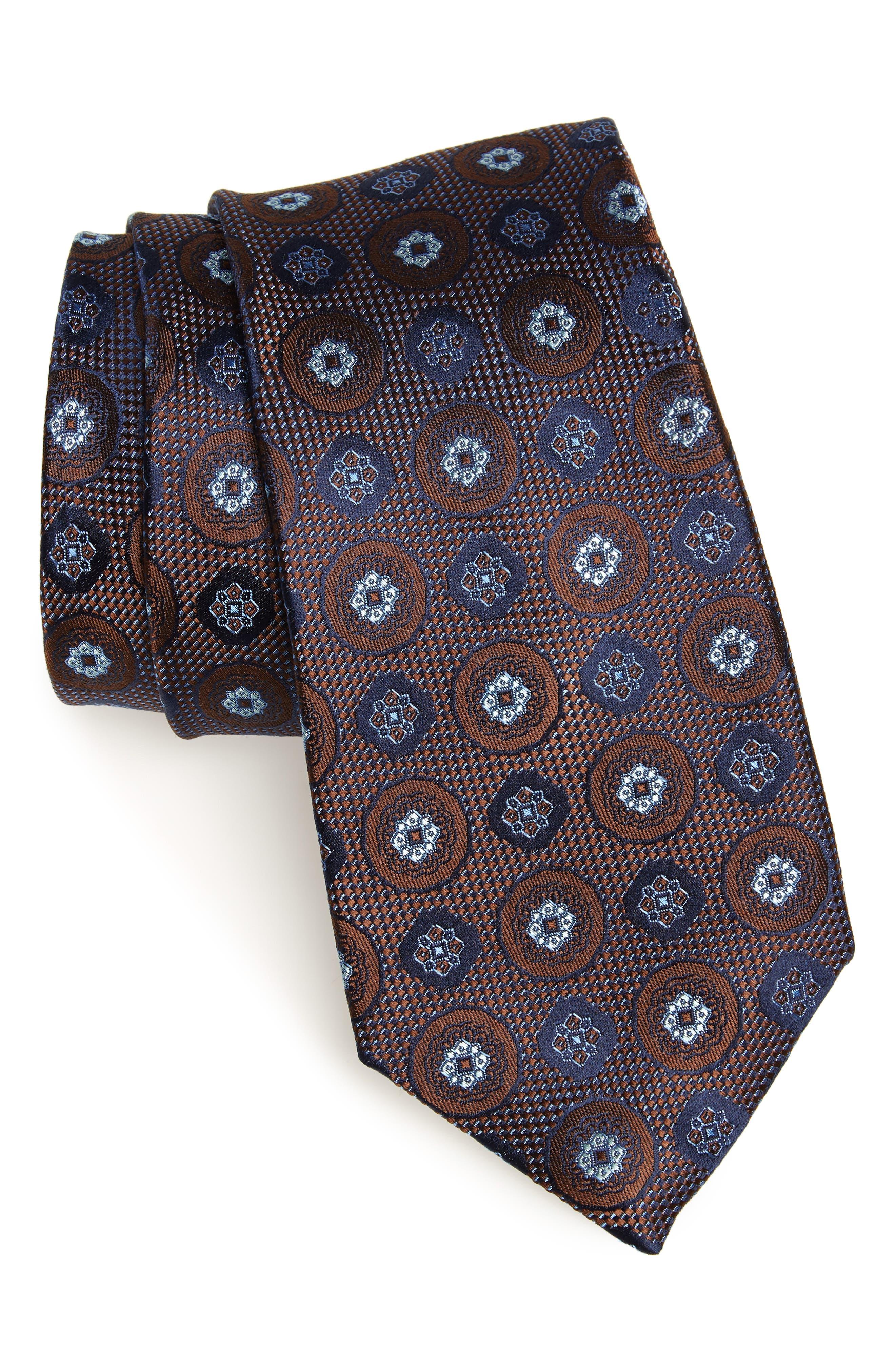 Edlin Medallion Silk Tie,                         Main,                         color, BROWN