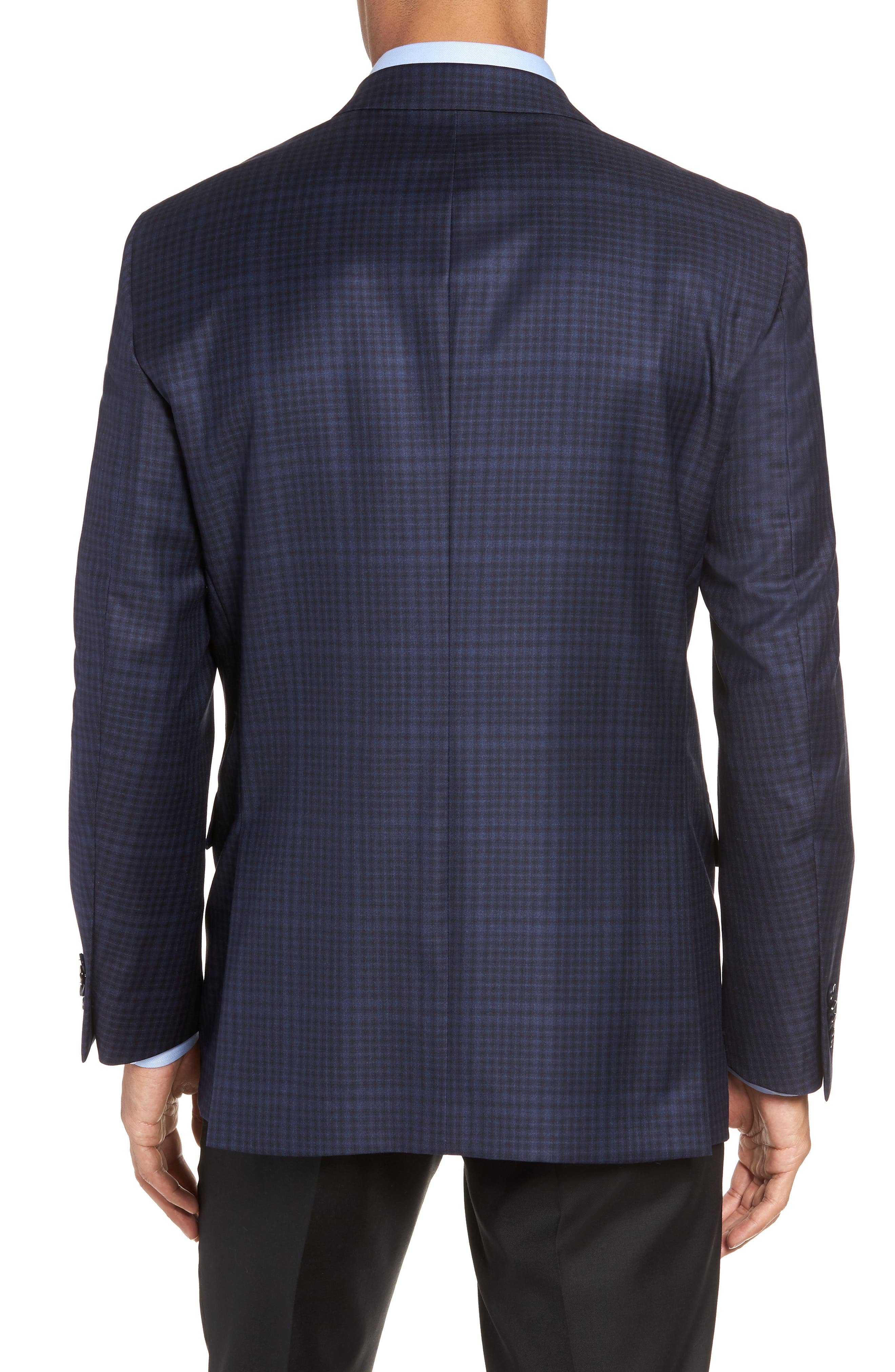 Classic Fit Plaid Wool Sport Coat,                             Alternate thumbnail 2, color,                             NAVY
