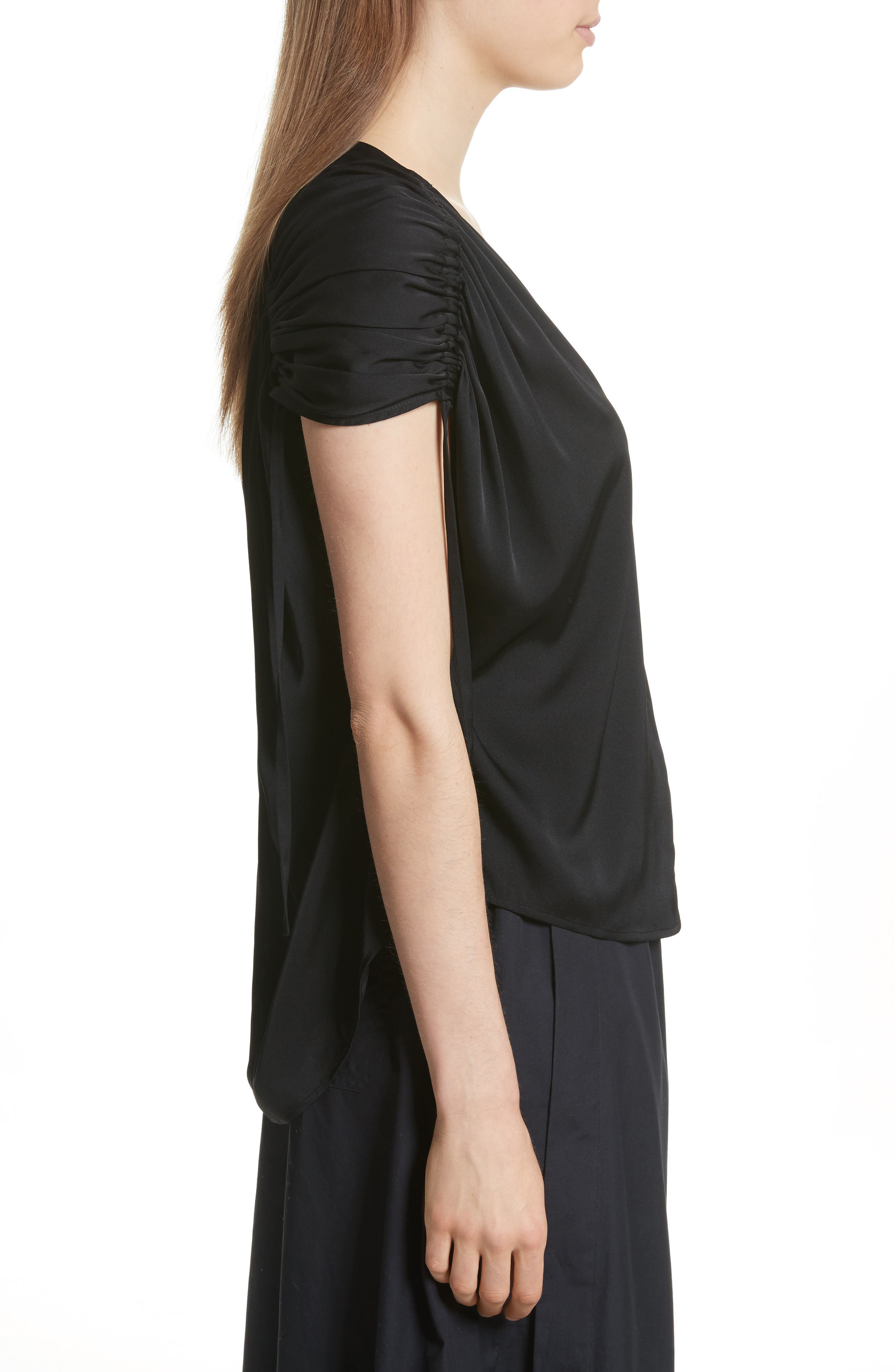 Ruched Silk Top,                             Alternate thumbnail 5, color,
