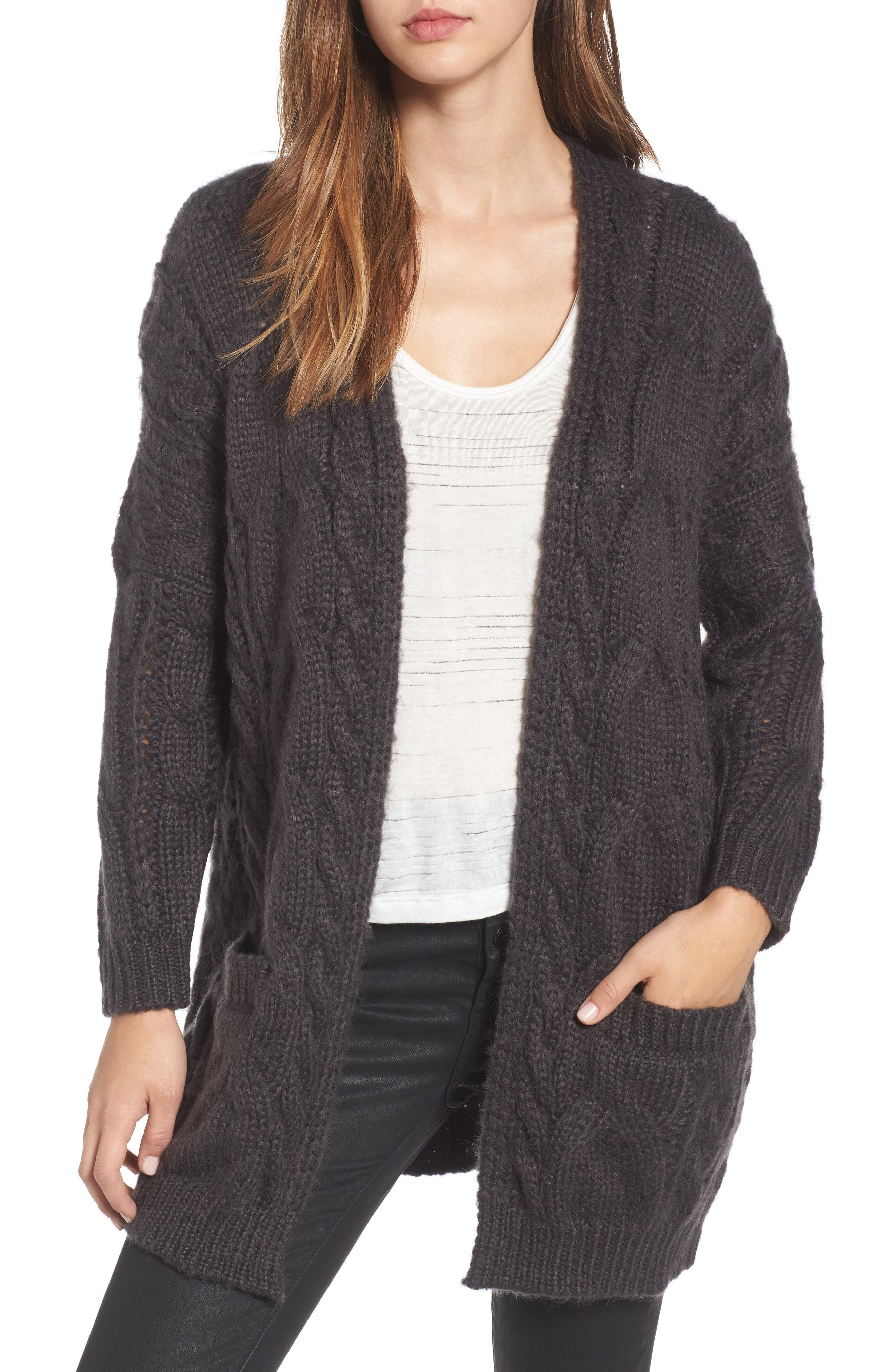 Cable Knit Cardigan, Main, color, 030