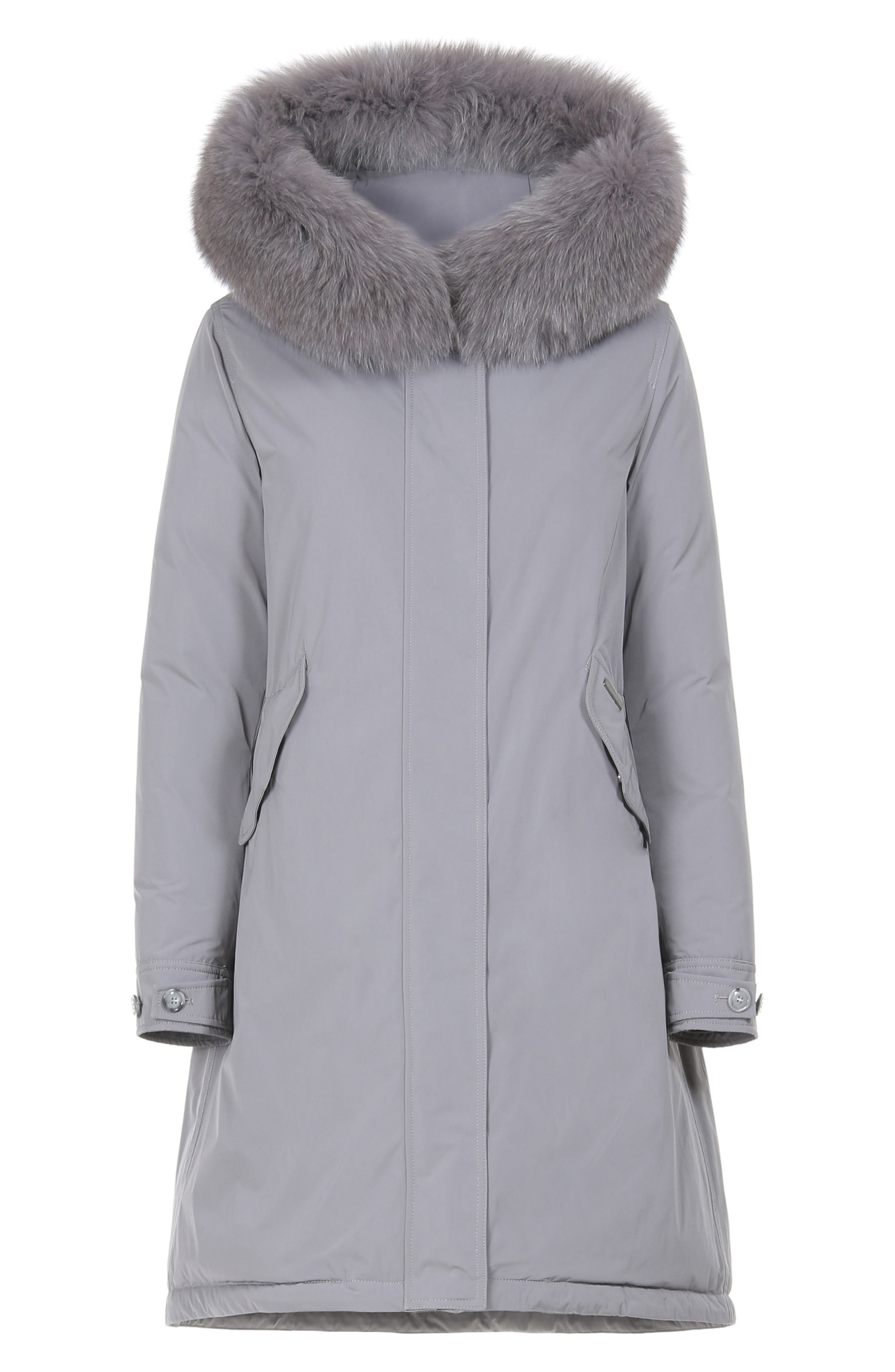 Keystone Down Parka with Genuine Fox Fur Trim,                             Alternate thumbnail 4, color,                             URBAN GREY