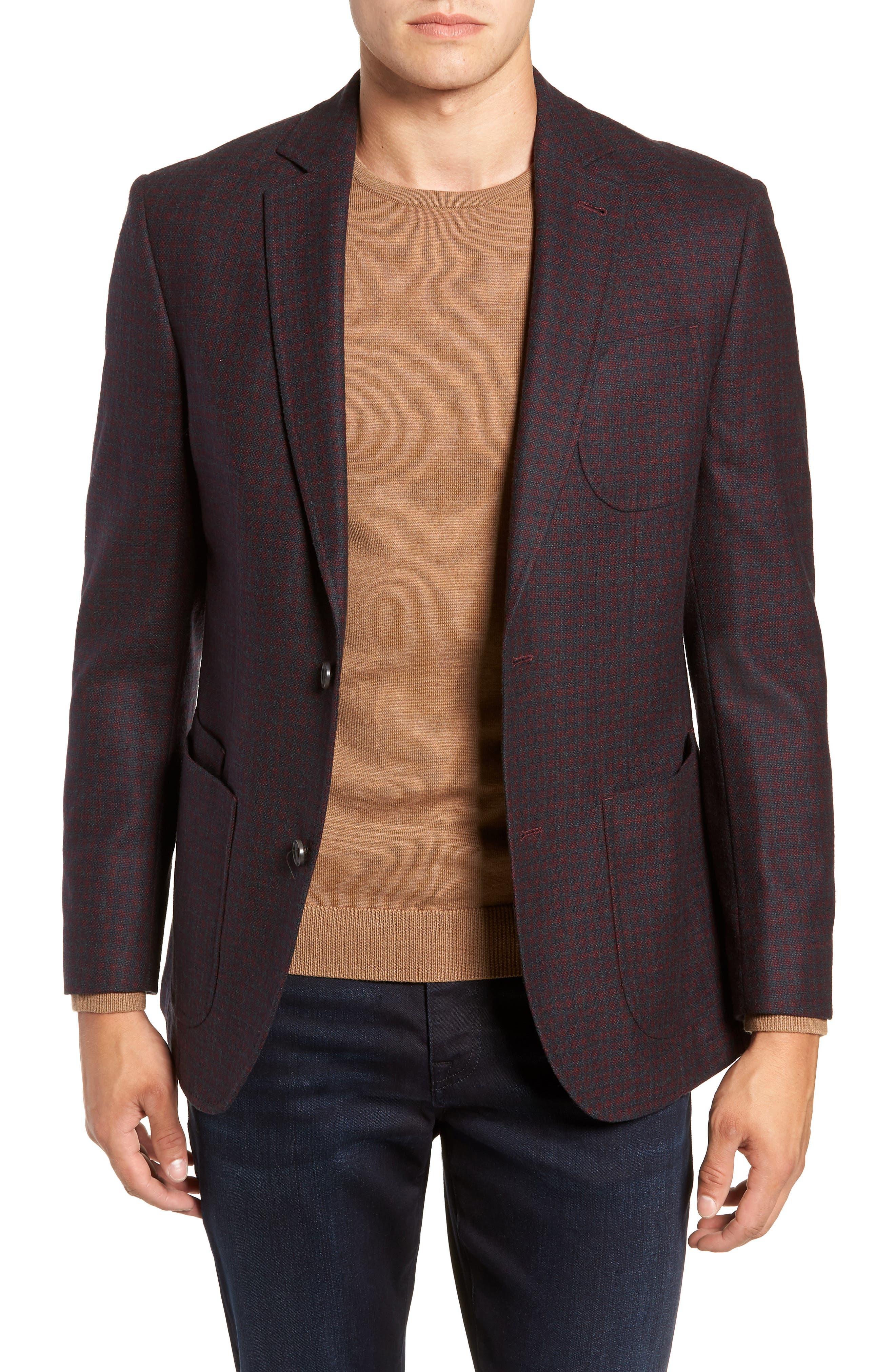 Regular Fit Wool Blend Sport Coat,                             Main thumbnail 1, color,                             RED