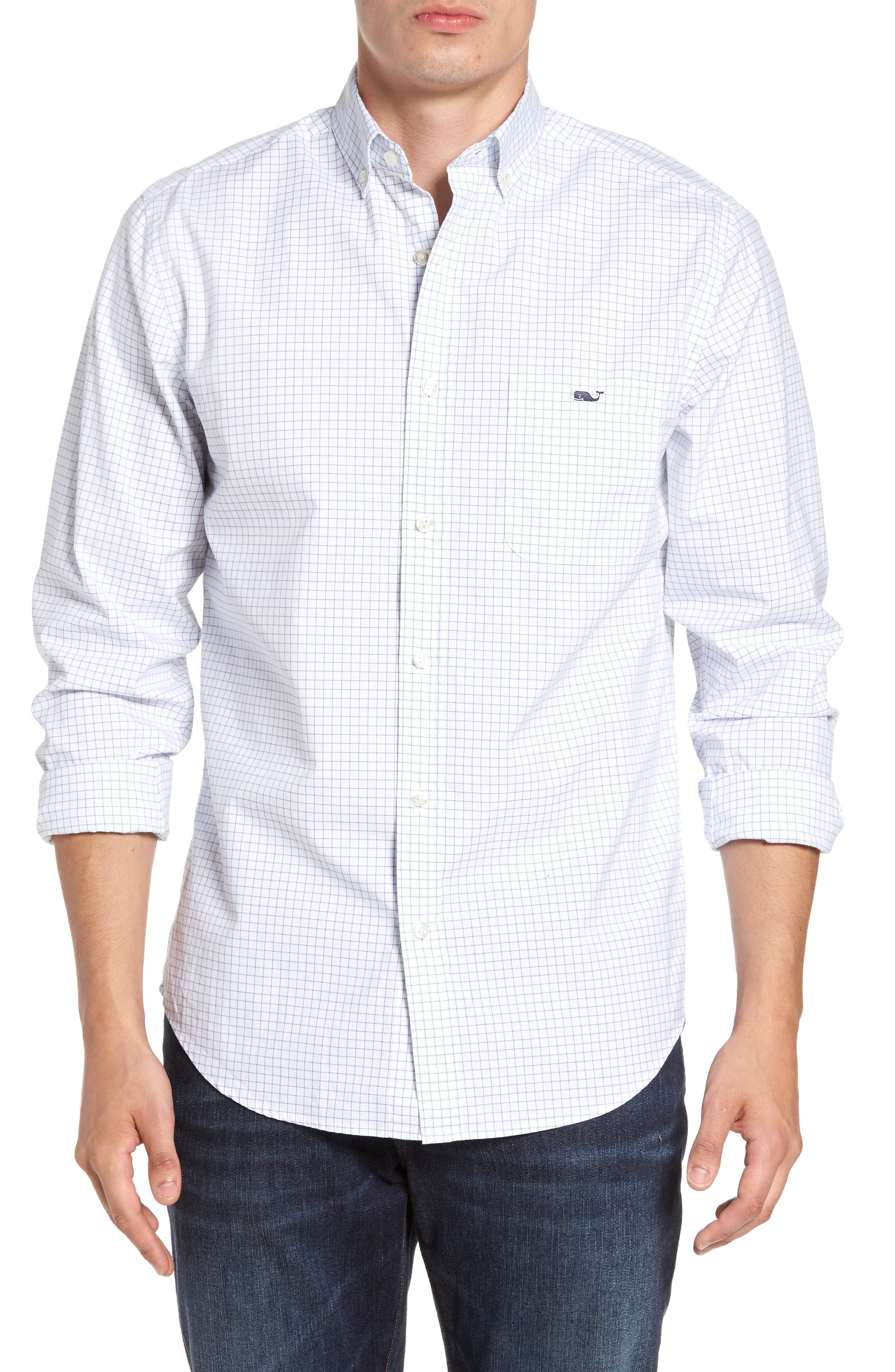 Navy Beach Classic Fit Check Sport Shirt,                         Main,                         color, 414