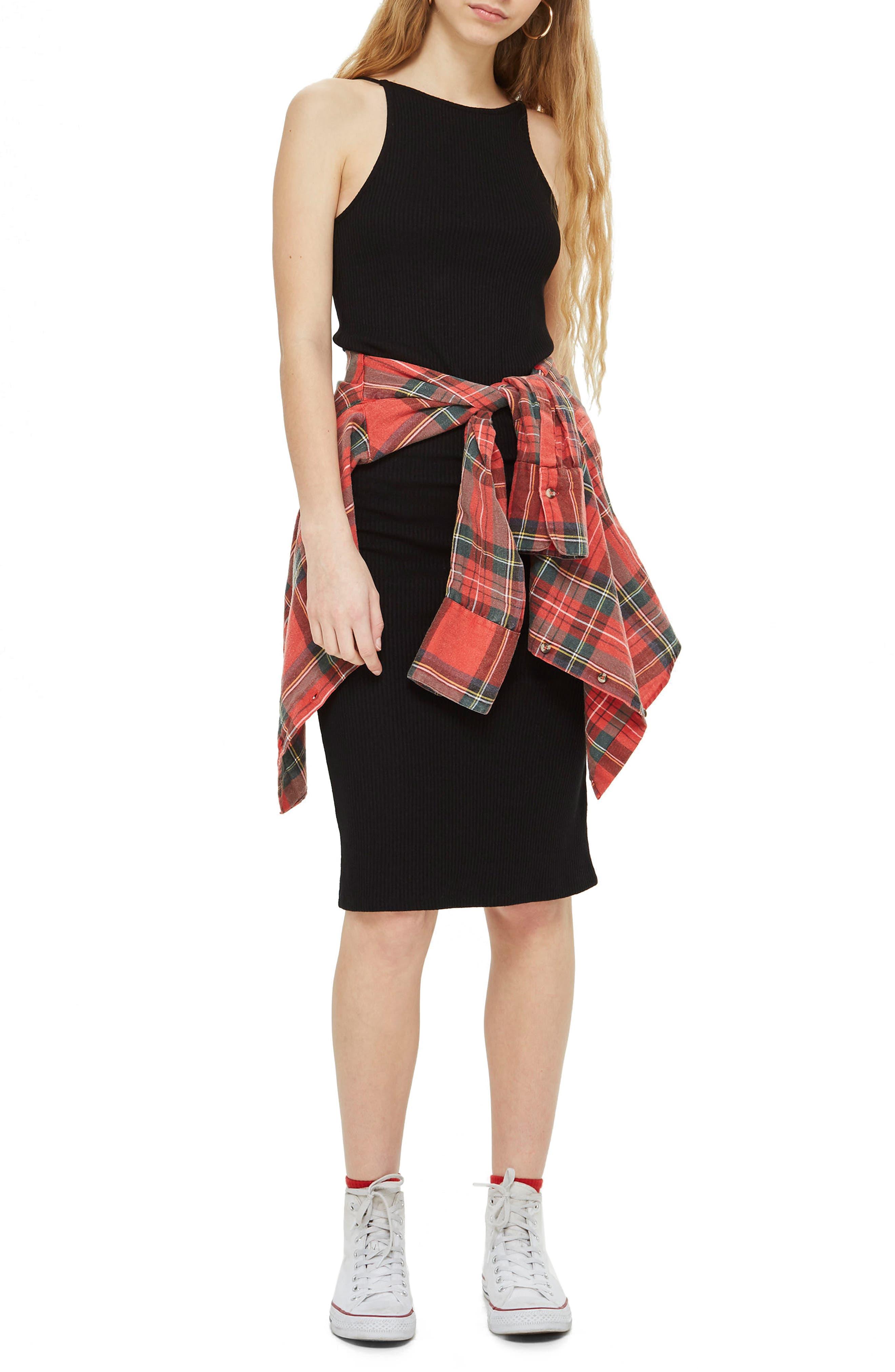 Scoop Back Ribbed Midi Dress,                             Main thumbnail 1, color,                             001
