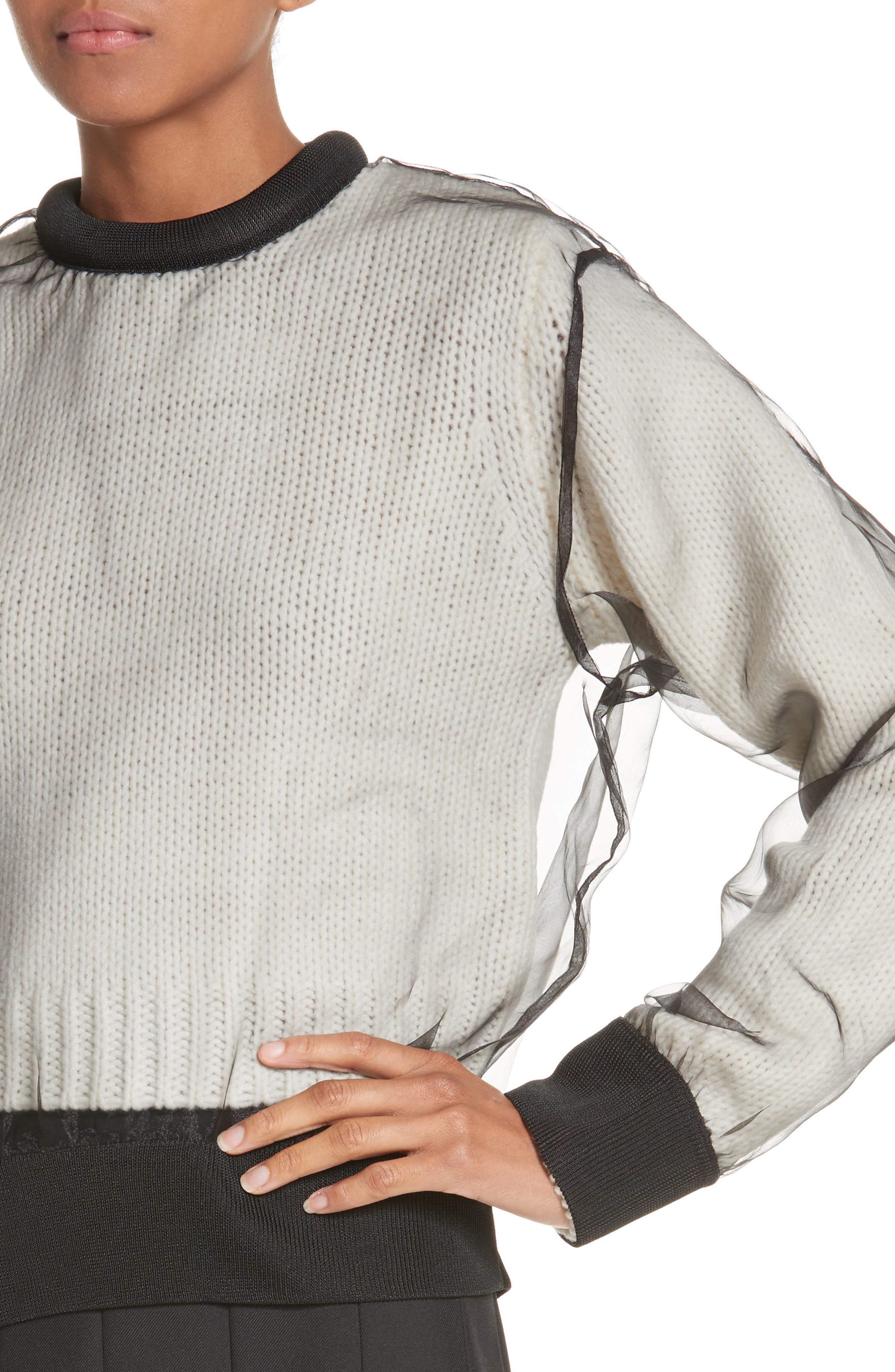 Organdy Overlay Sweater,                             Alternate thumbnail 4, color,                             001