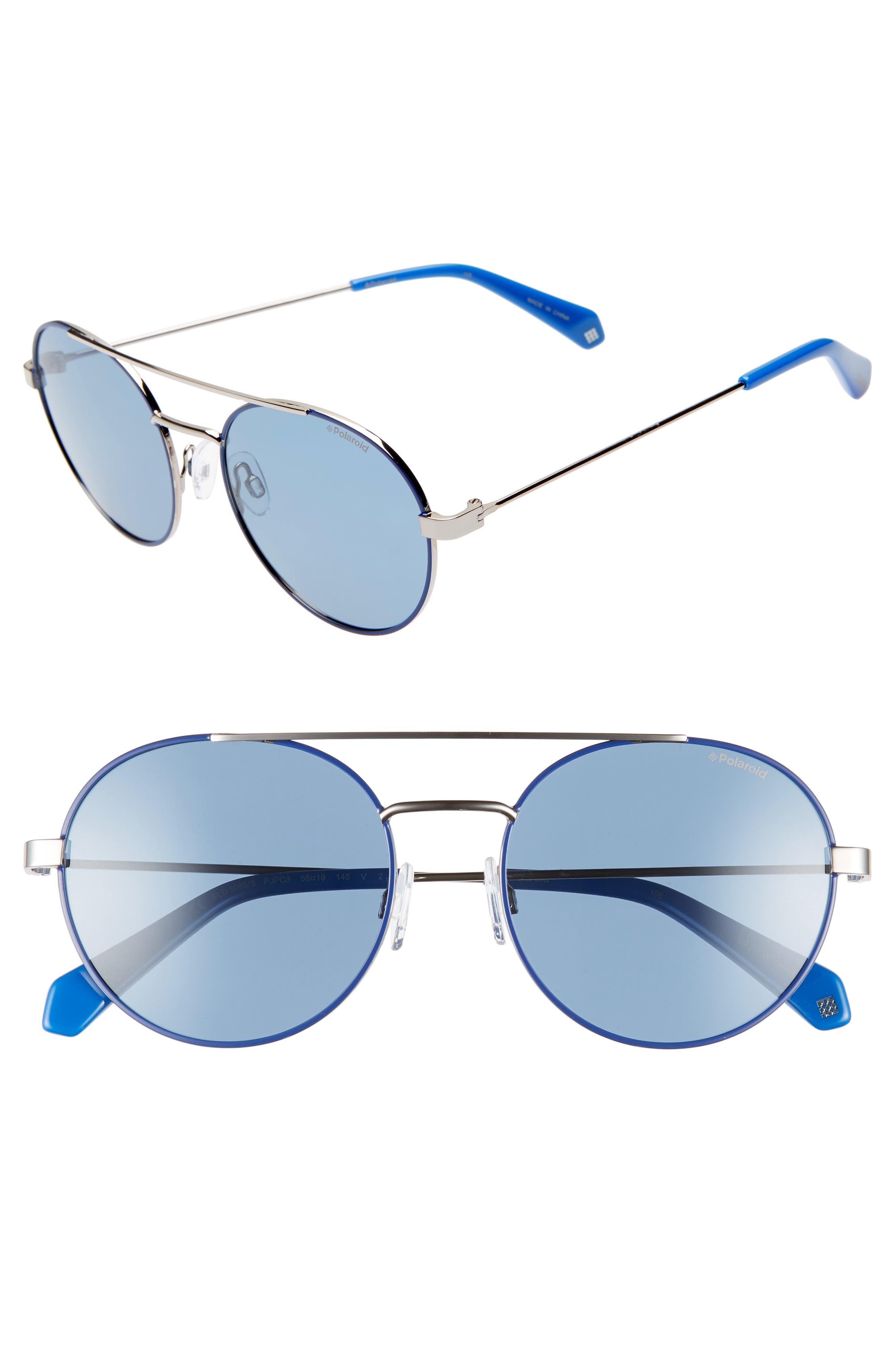 Polaroid 55Mm Polarized Round Aviator Sunglasses - Blue/ Silver