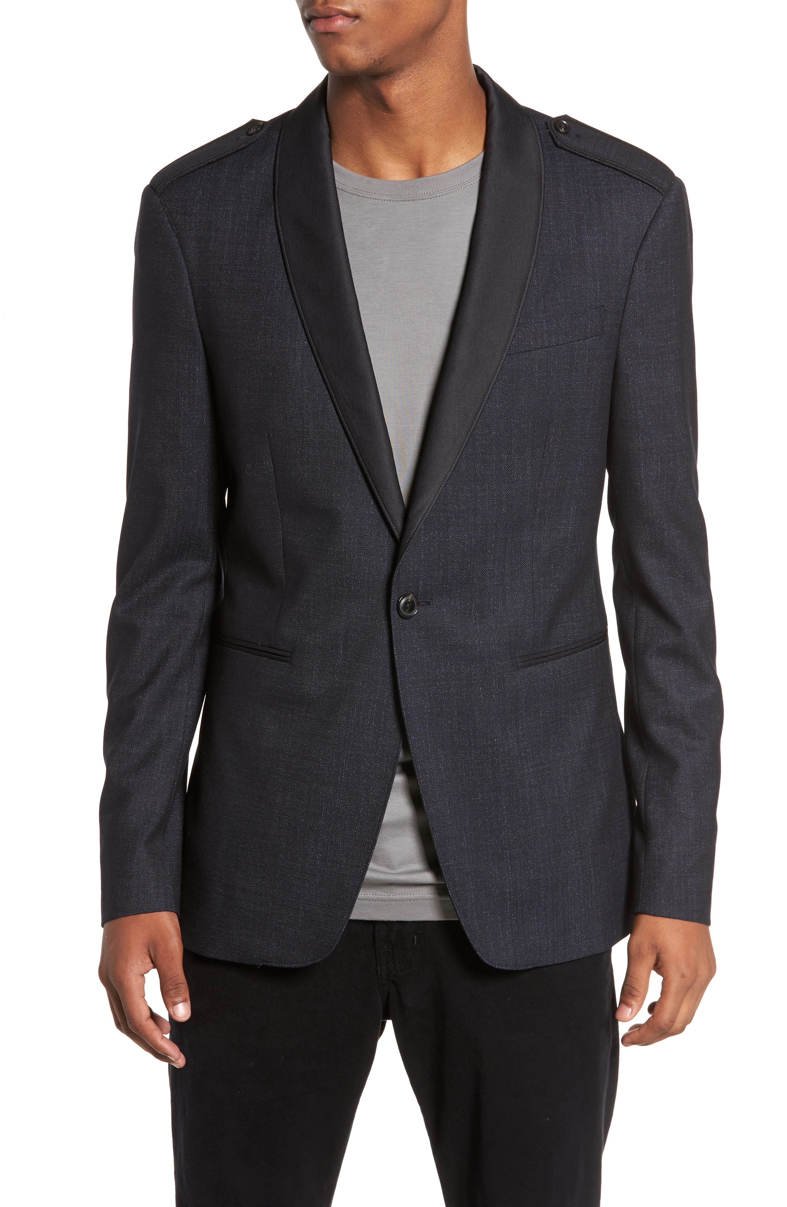 Shawl Collar Wool Blazer,                             Alternate thumbnail 4, color,                             414