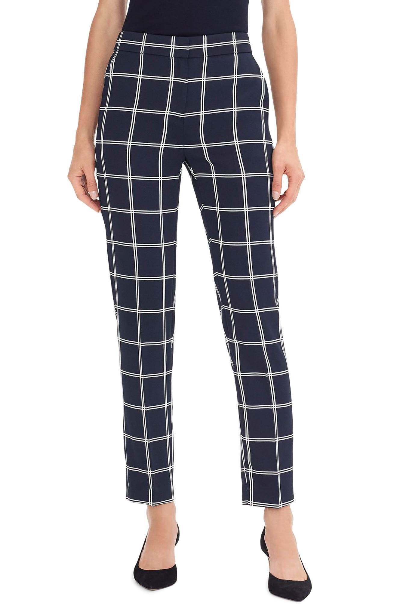 60s – 70s Pants, Jeans, Hippie, Bell Bottoms, Jumpsuits Womens J.crew French Girl Windowpane Slim Crop Pants Size 16 - Blue $49.49 AT vintagedancer.com
