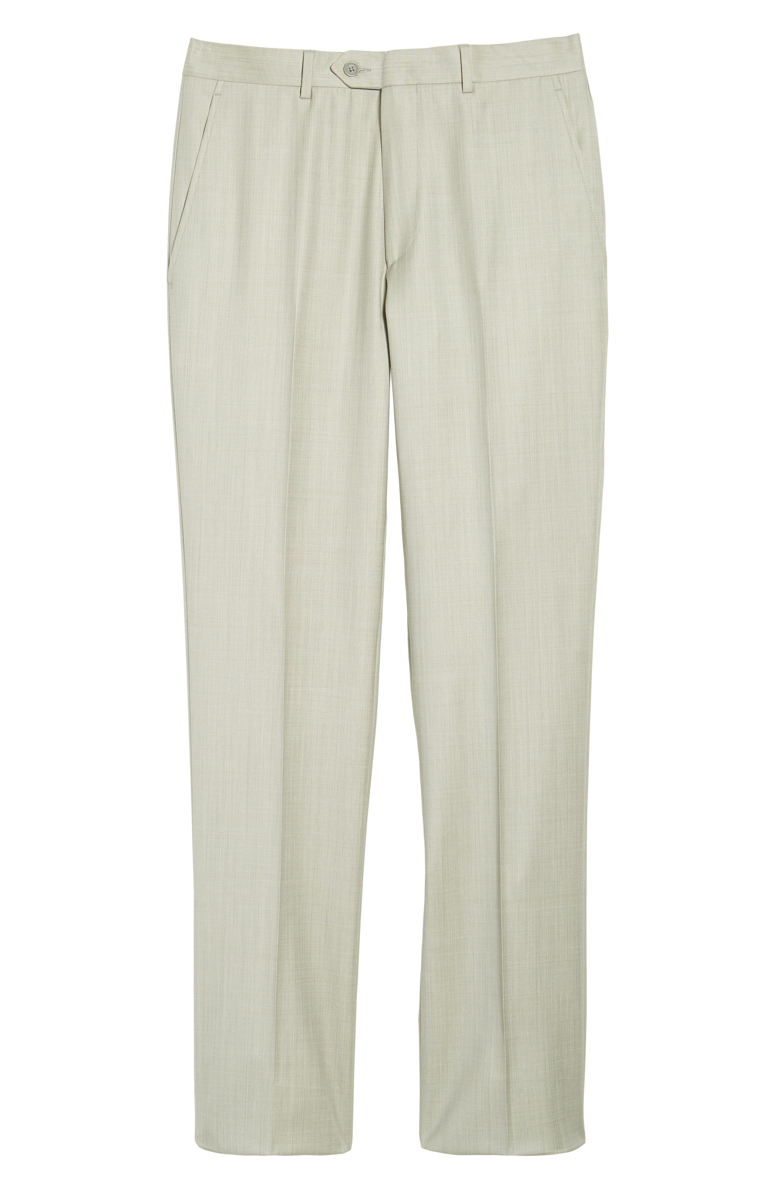 Flat Front Solid Wool Trousers,                             Alternate thumbnail 6, color,