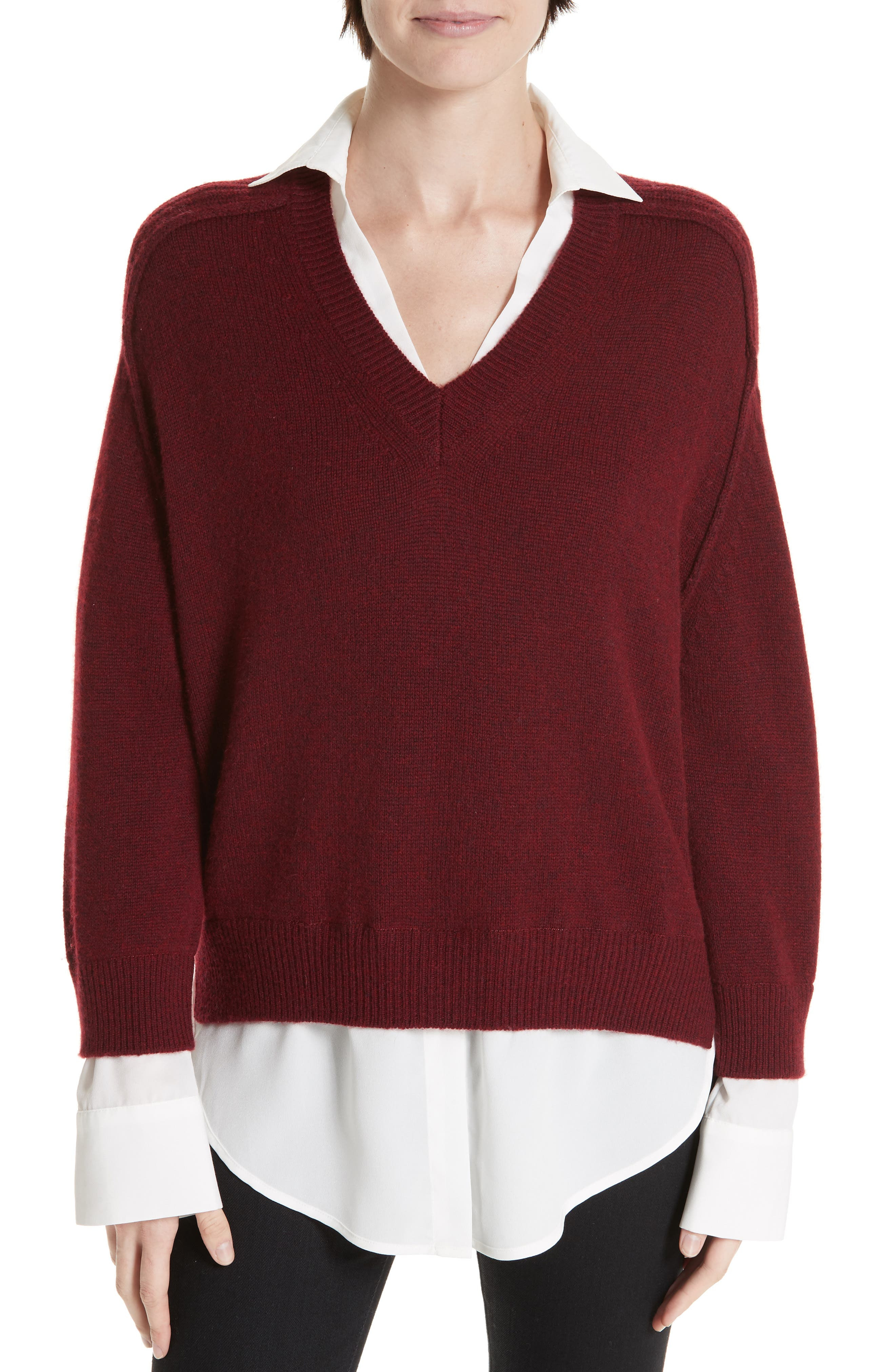BROCHU WALKER Wool & Cashmere Layered Pullover in Barolo Red With White