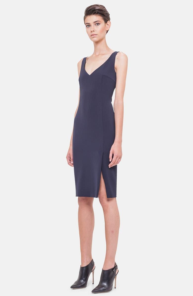 696a299d489 Akris V-Neck Silk Crepe Sheath Dress