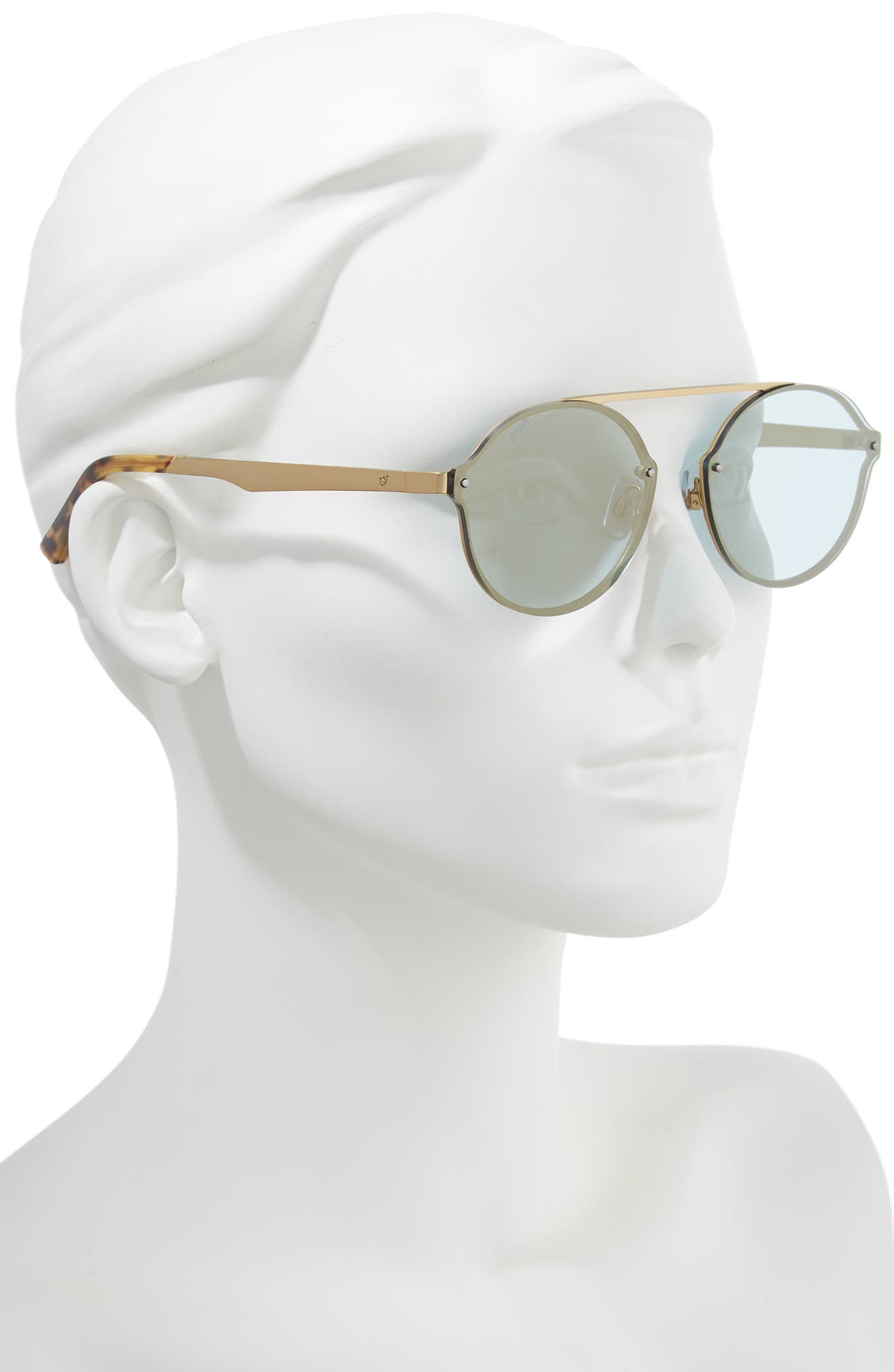 58mm Round Sunglasses,                             Alternate thumbnail 2, color,                             GOLD/ BLUE