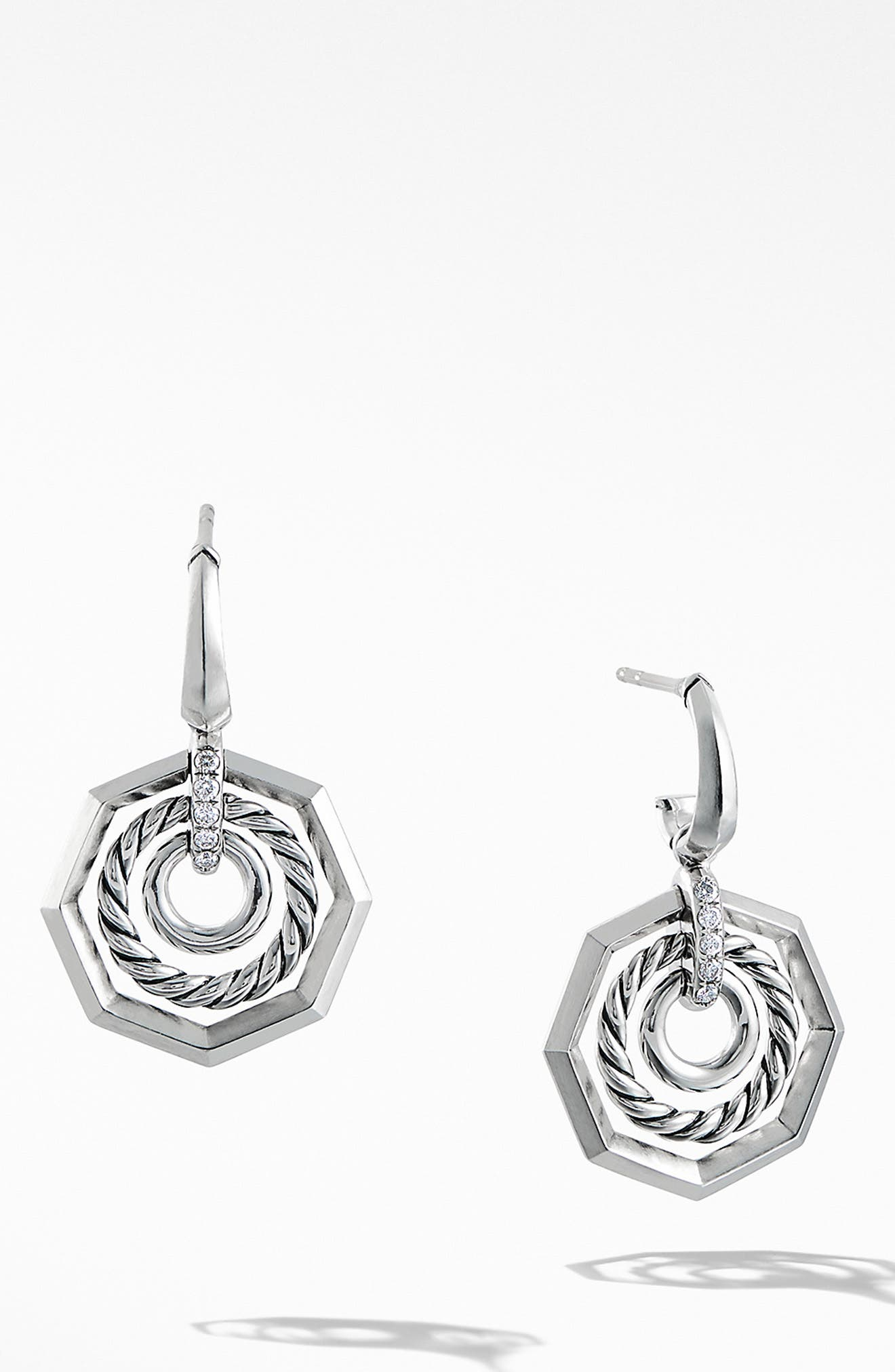 Stax Drop Earring with Diamonds,                             Main thumbnail 1, color,                             SILVER/ DIAMOND