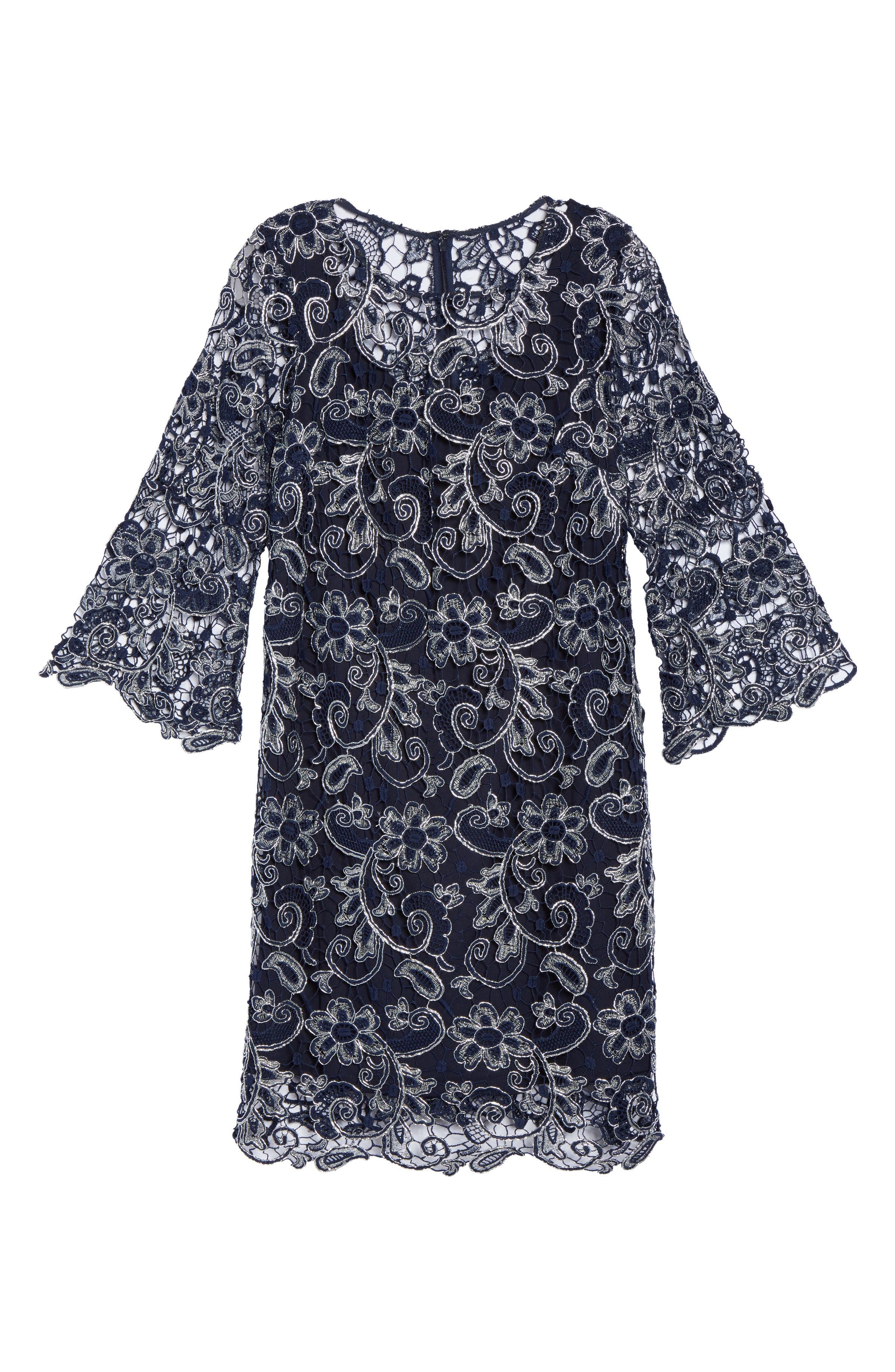 Bell Sleeve Lace Shift Dress,                             Alternate thumbnail 11, color,