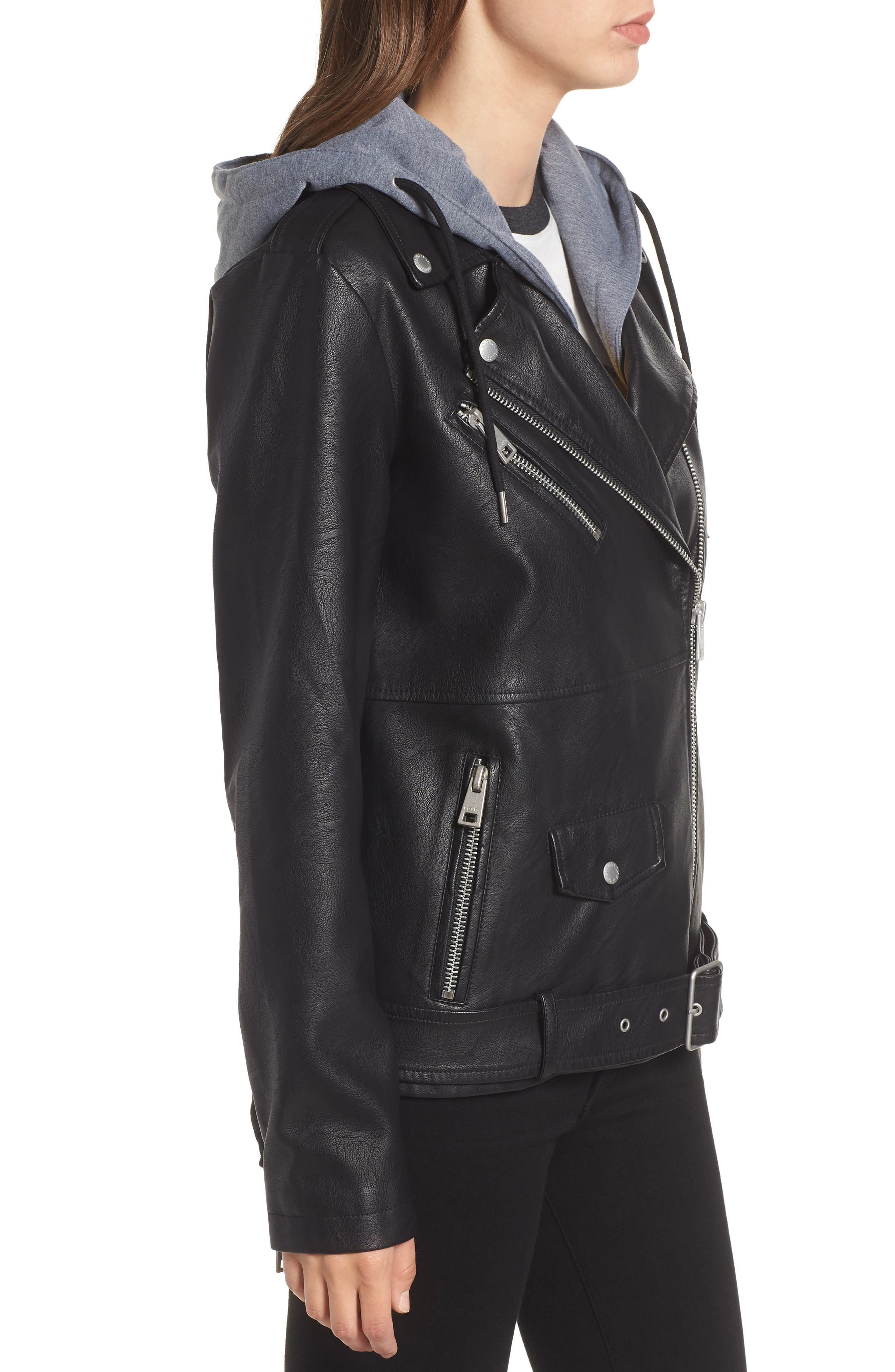 Fleece Hood Oversized Faux Leather Moto Jacket,                             Alternate thumbnail 3, color,                             BLACK