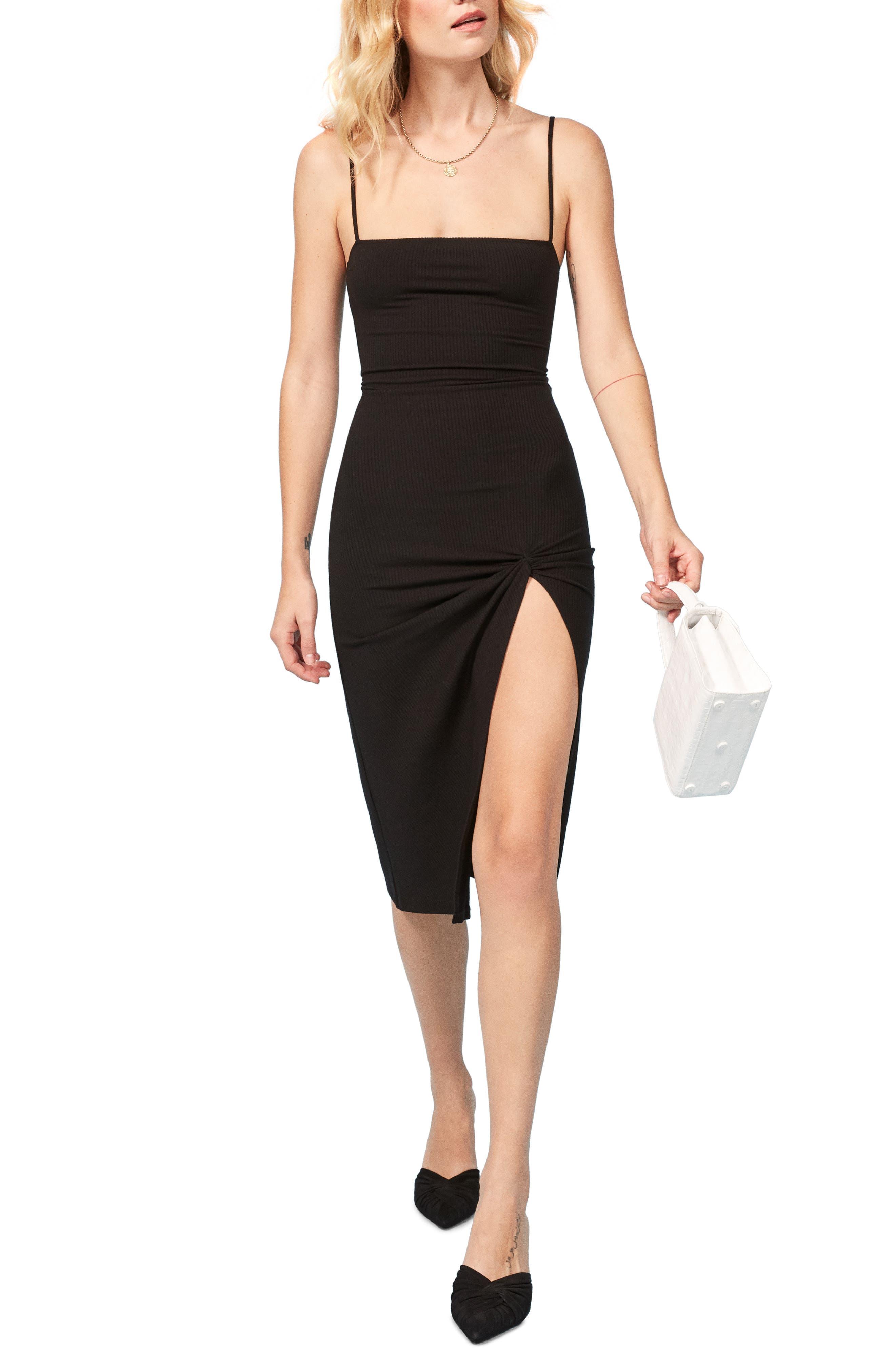 Scala Ribbed Body-Con Midi Dress,                         Main,                         color, BLACK