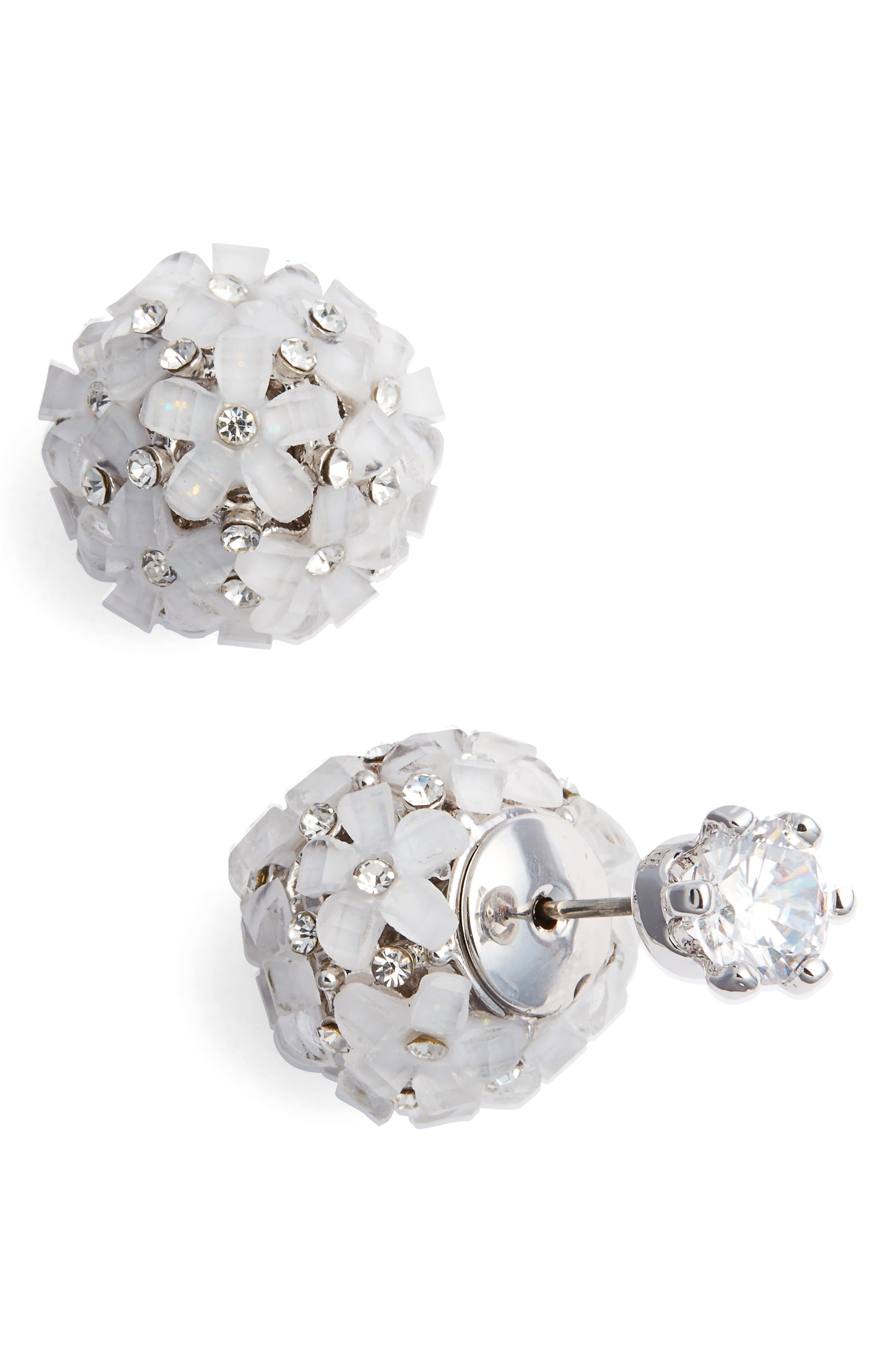 Front to Back Flower Ball Earrings,                             Main thumbnail 1, color,                             SILVER/ WHITE CZ