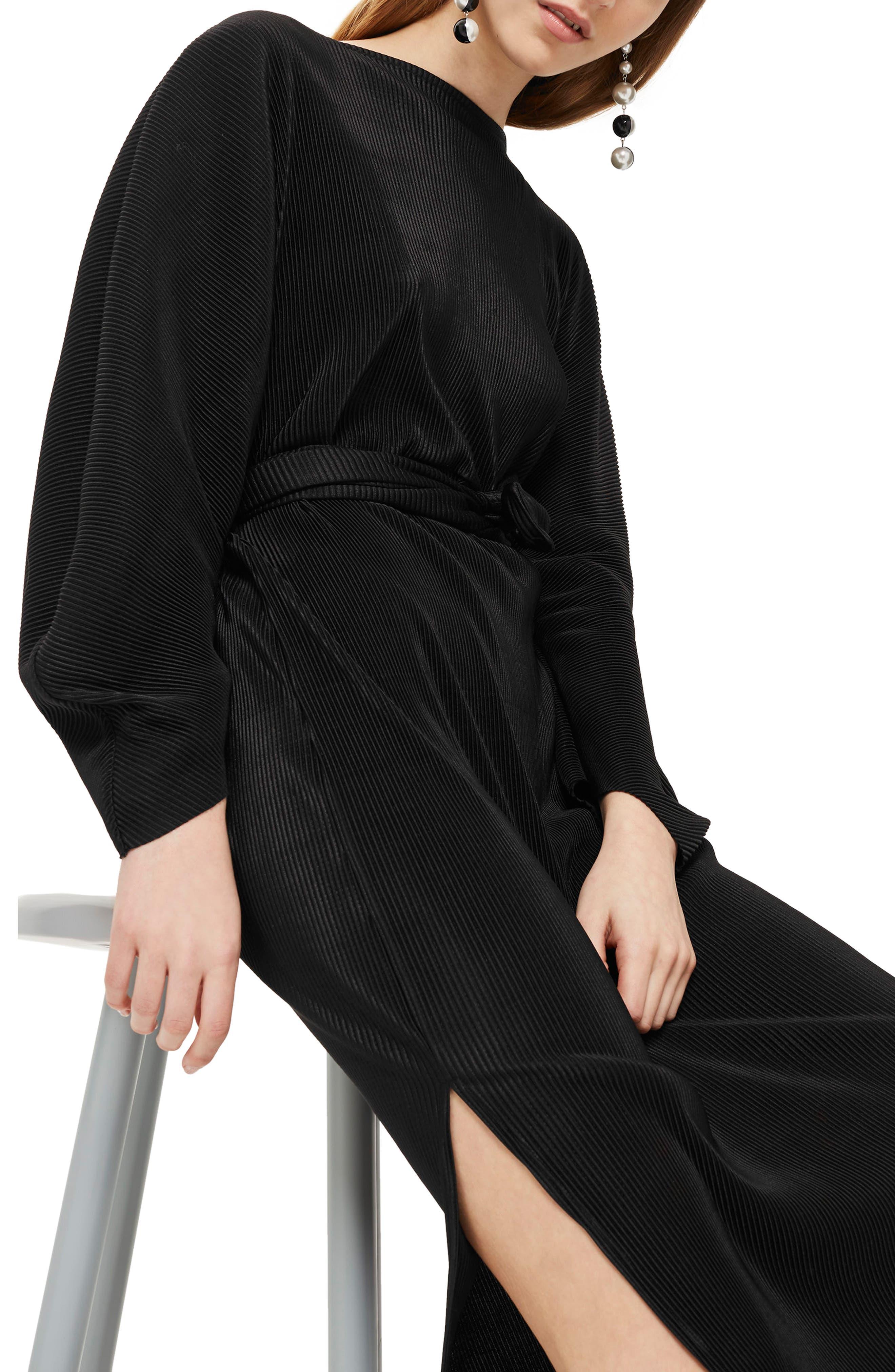 Ovoid Plissé Midi Dress,                             Alternate thumbnail 3, color,                             001