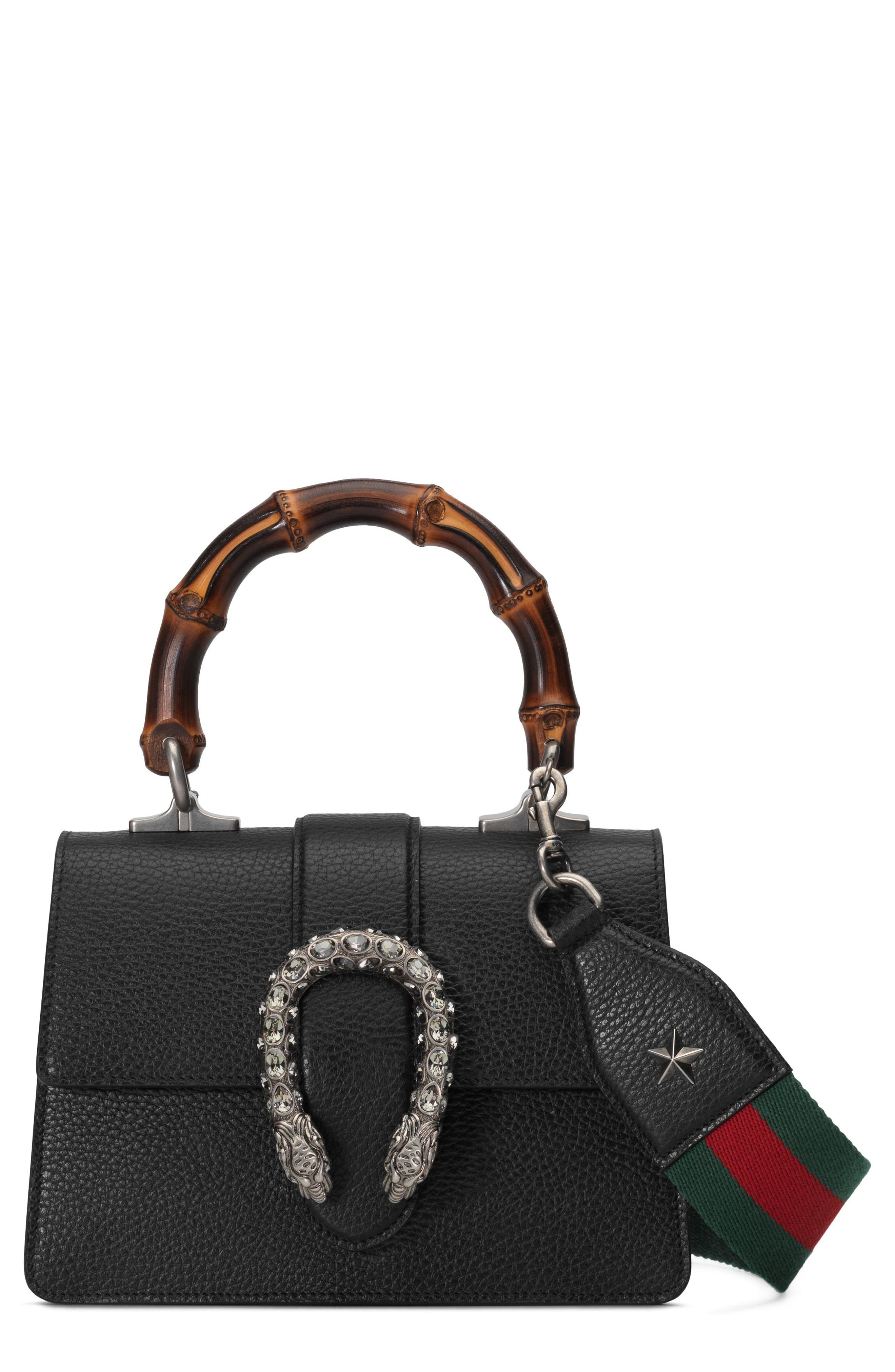 Mini Dionysus Leather Top Handle Satchel,                             Main thumbnail 1, color,                             NERO/ VERT RED/ BLACK DIAMOND