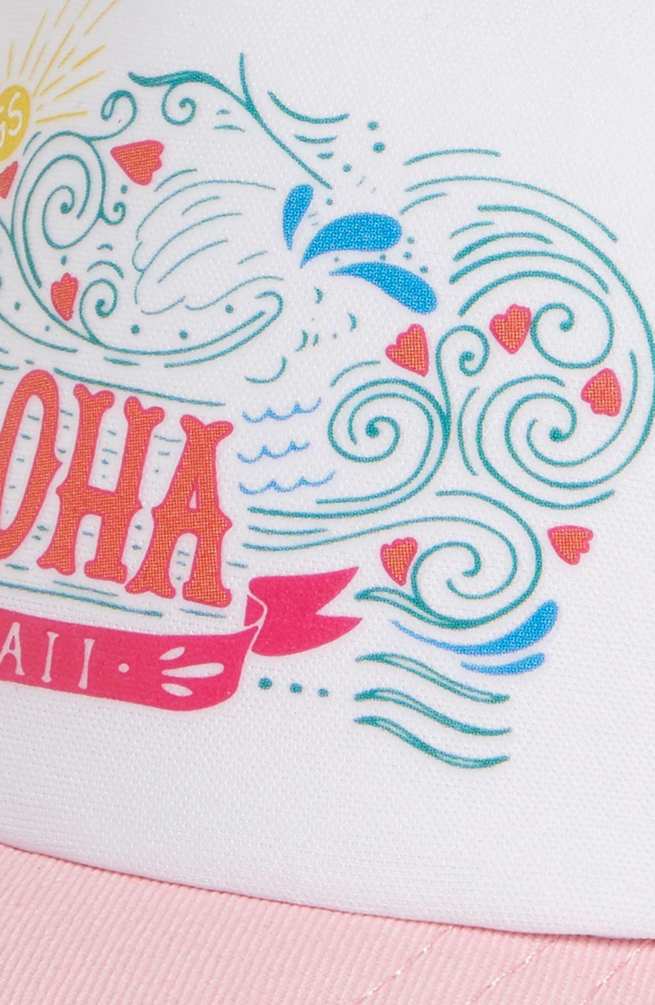 Aloha Tides Trucker Hat,                             Alternate thumbnail 3, color,                             PINK/ WHITE