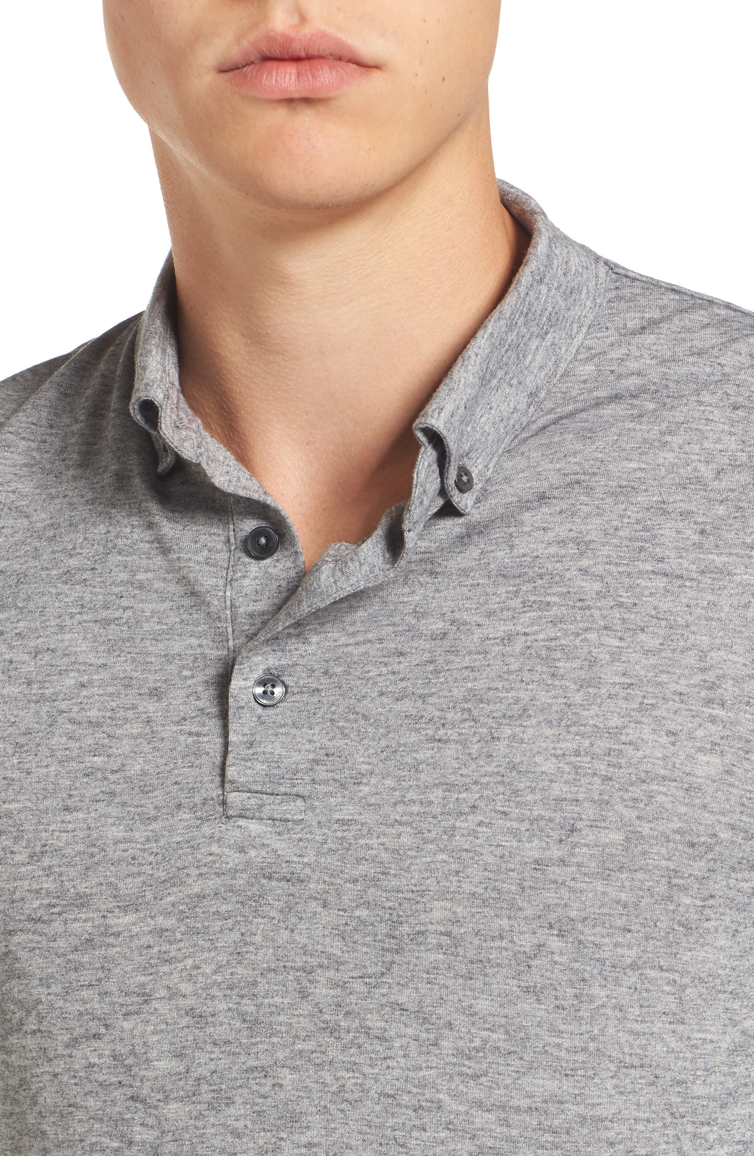 Long Sleeve Wool Jersey Polo,                             Alternate thumbnail 4, color,                             030