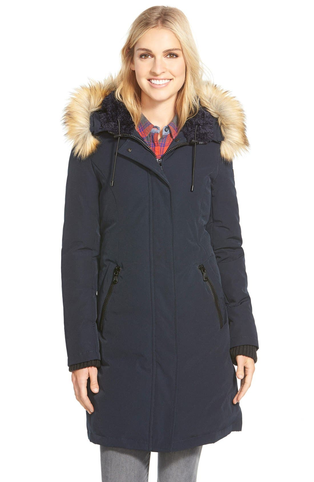 Down & Feather Fill Parka with Faux Fur Trim,                             Main thumbnail 4, color,