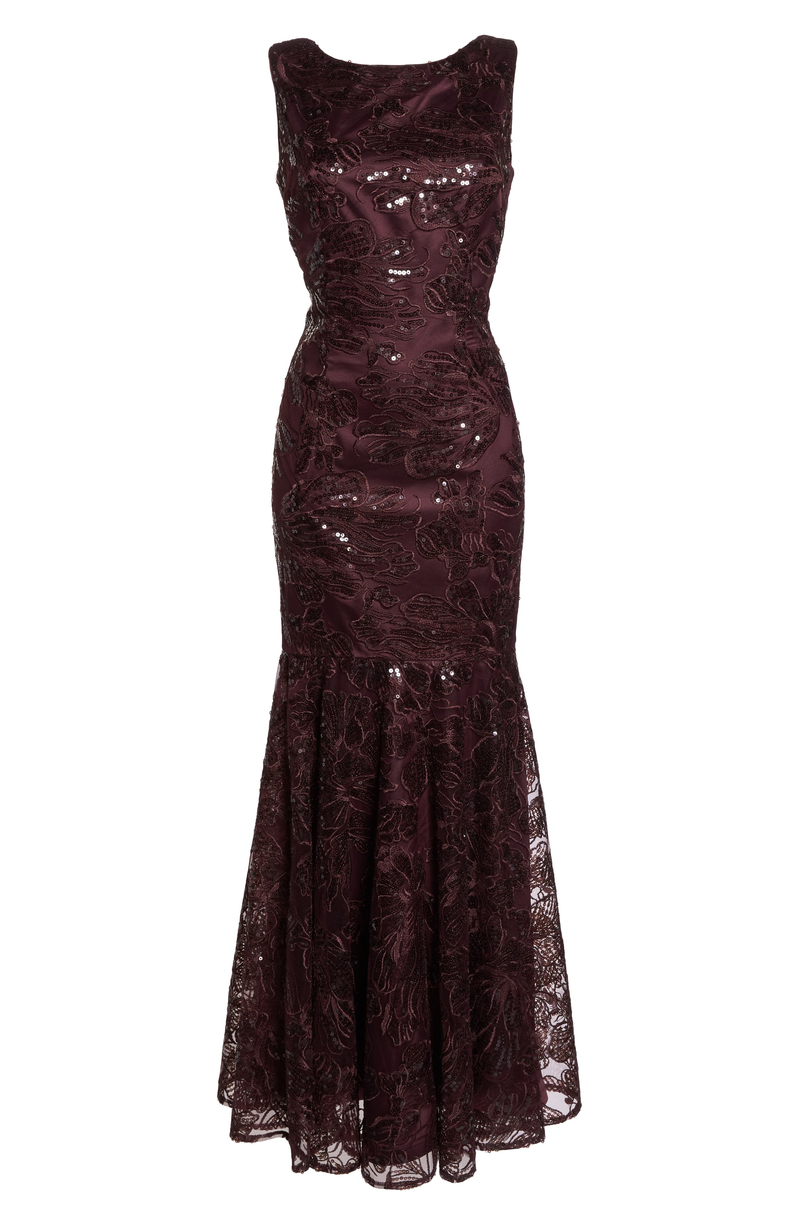 Embroidered Sequin Gown,                             Alternate thumbnail 7, color,                             BURGUNDY