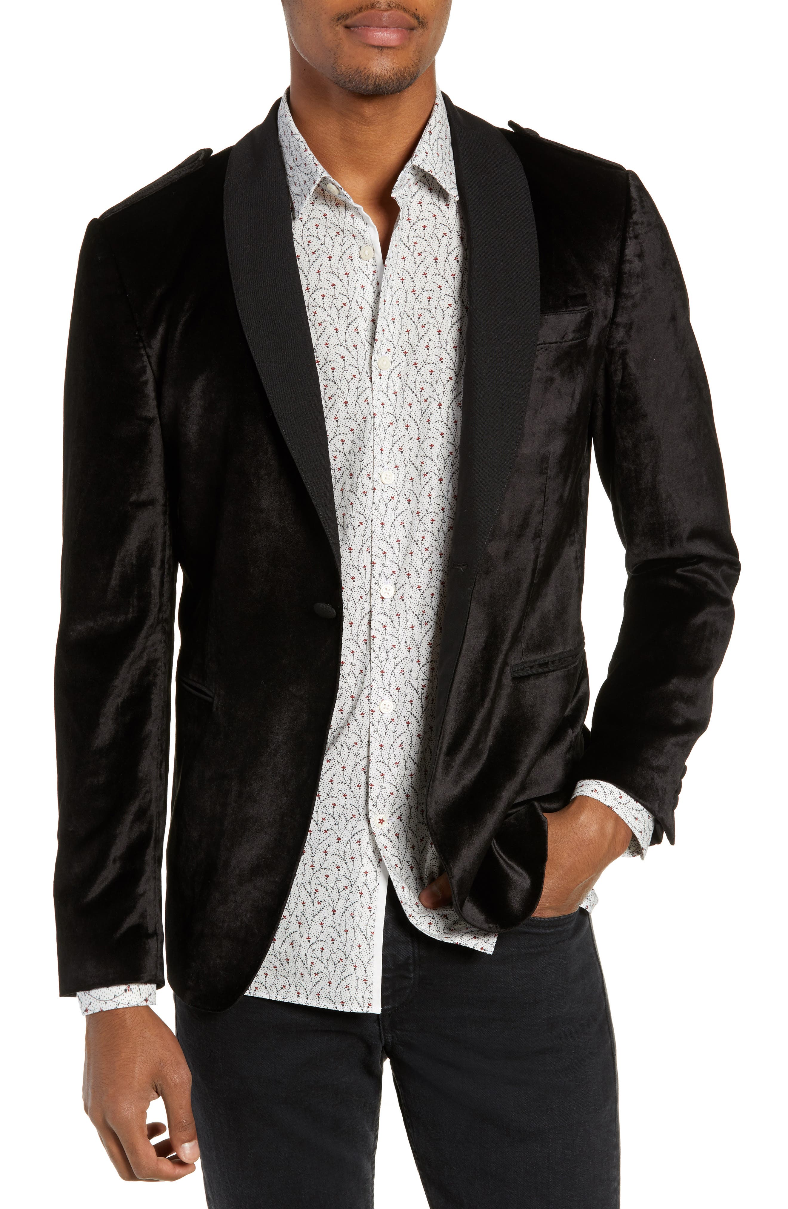 JOHN VARVATOS STAR USA,                             Shawl Collar Velvet Dinner Jacket,                             Main thumbnail 1, color,                             001