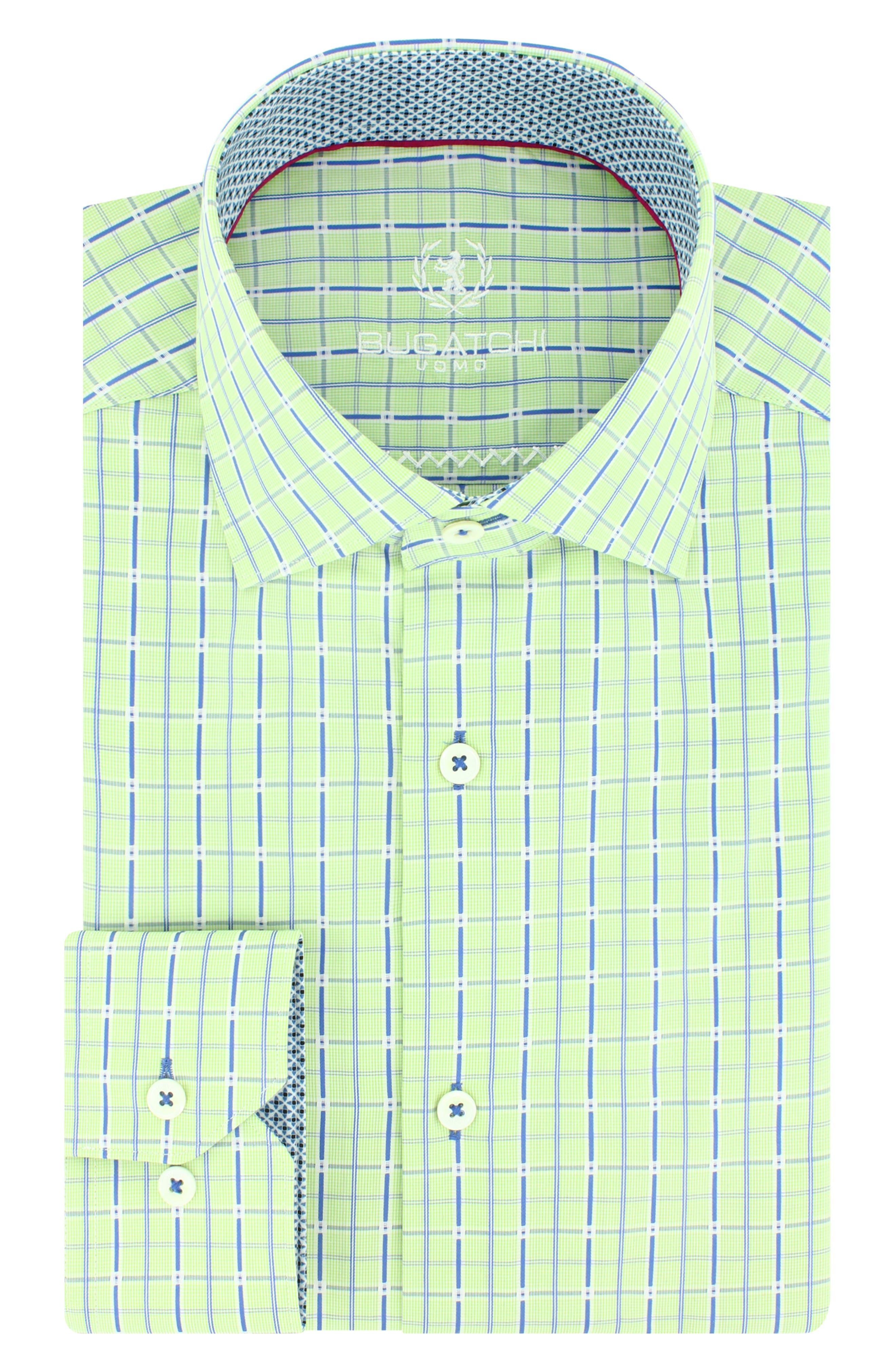 Trim Fit Grid Check Dress Shirt,                             Main thumbnail 1, color,                             329