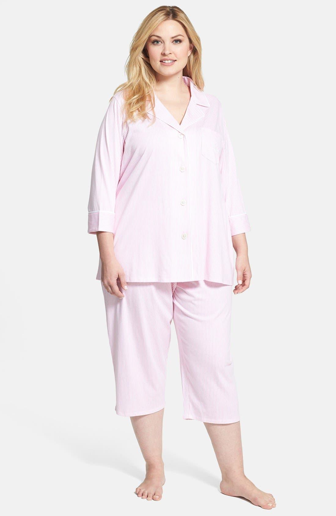 Knit Crop Pajamas,                             Main thumbnail 6, color,