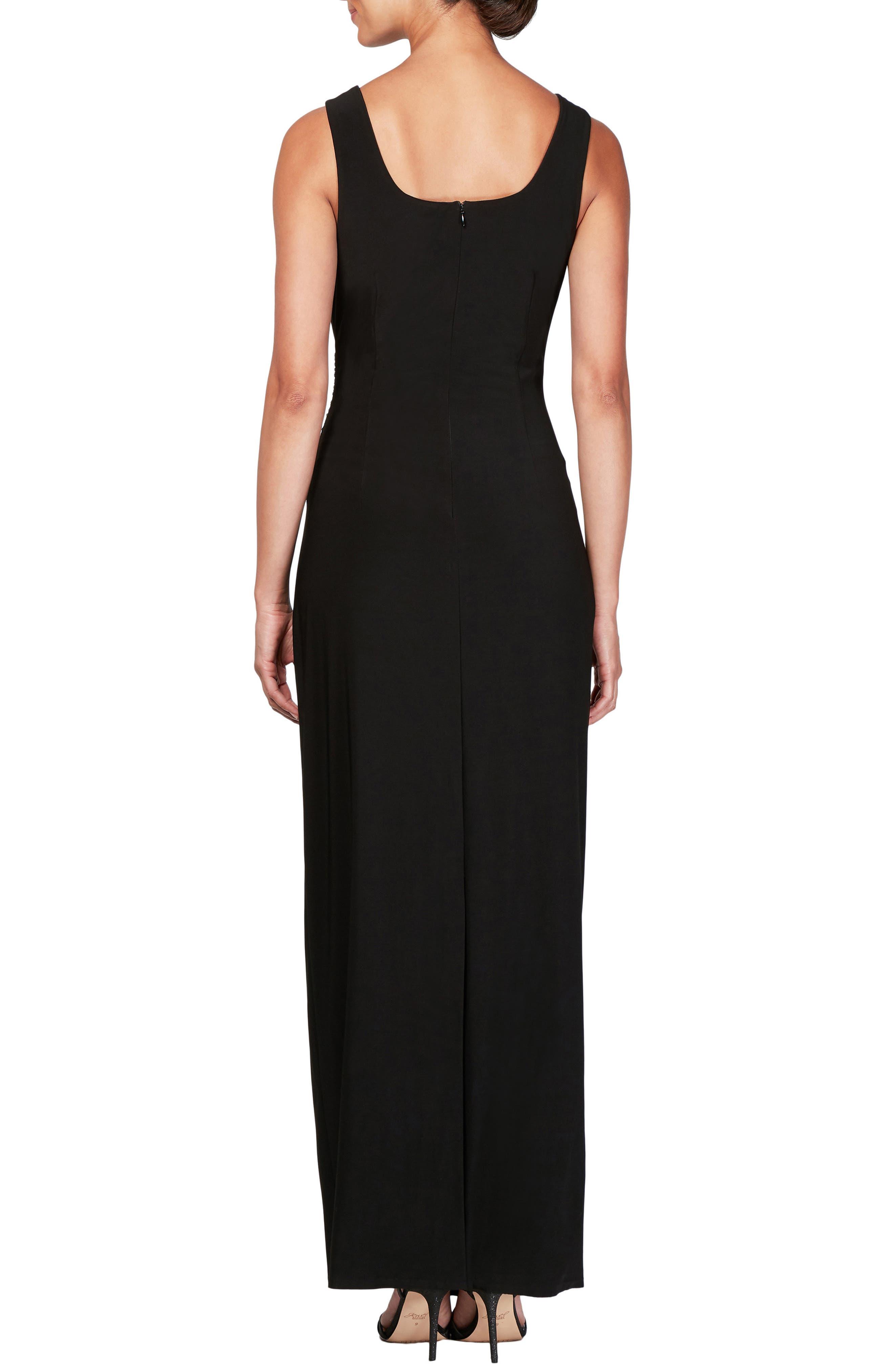 Ruched Maxi Dress & Jacket,                             Alternate thumbnail 4, color,                             BLACK