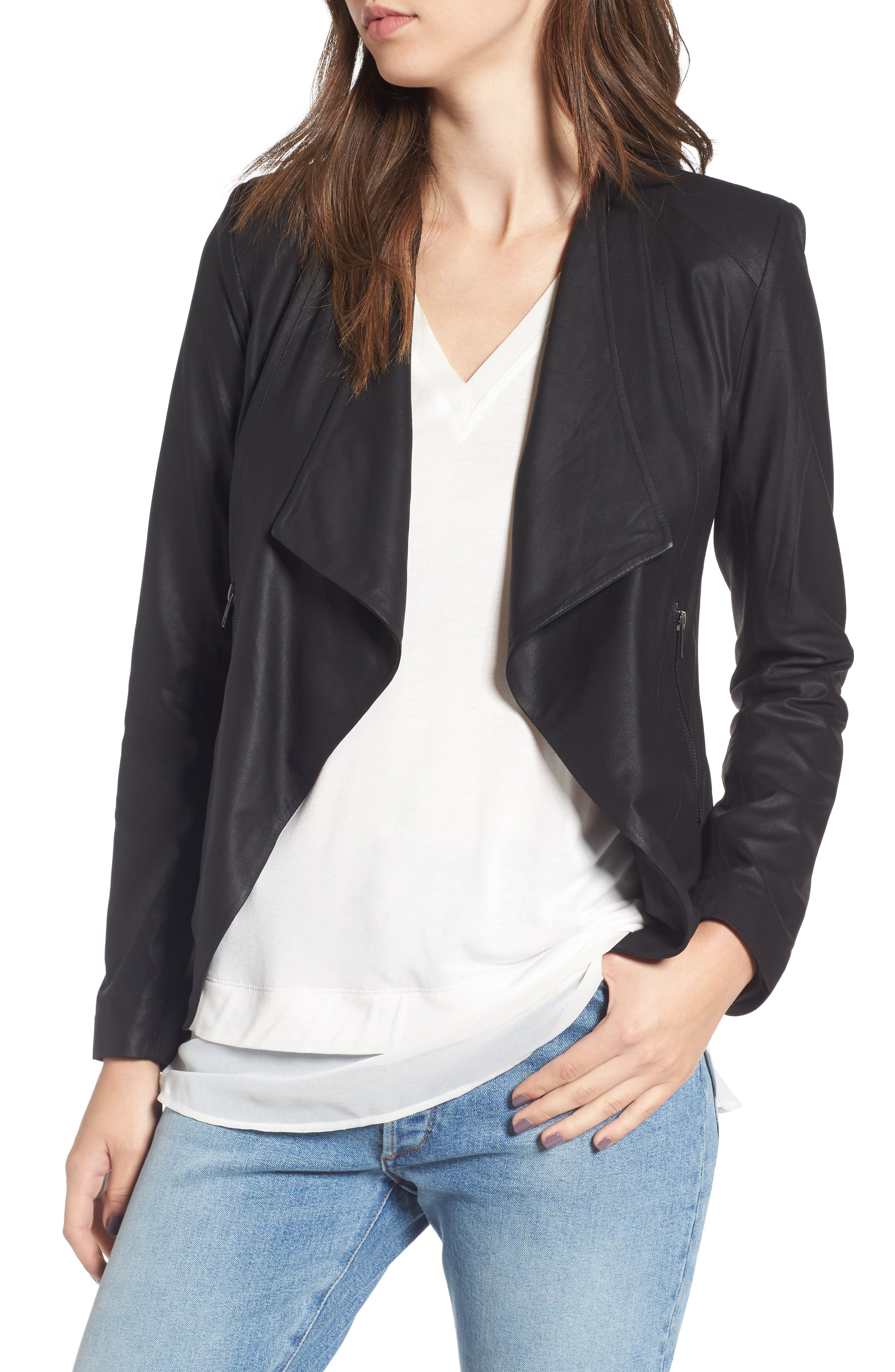 Brycen Leather Drape Front Jacket,                         Main,                         color, 001