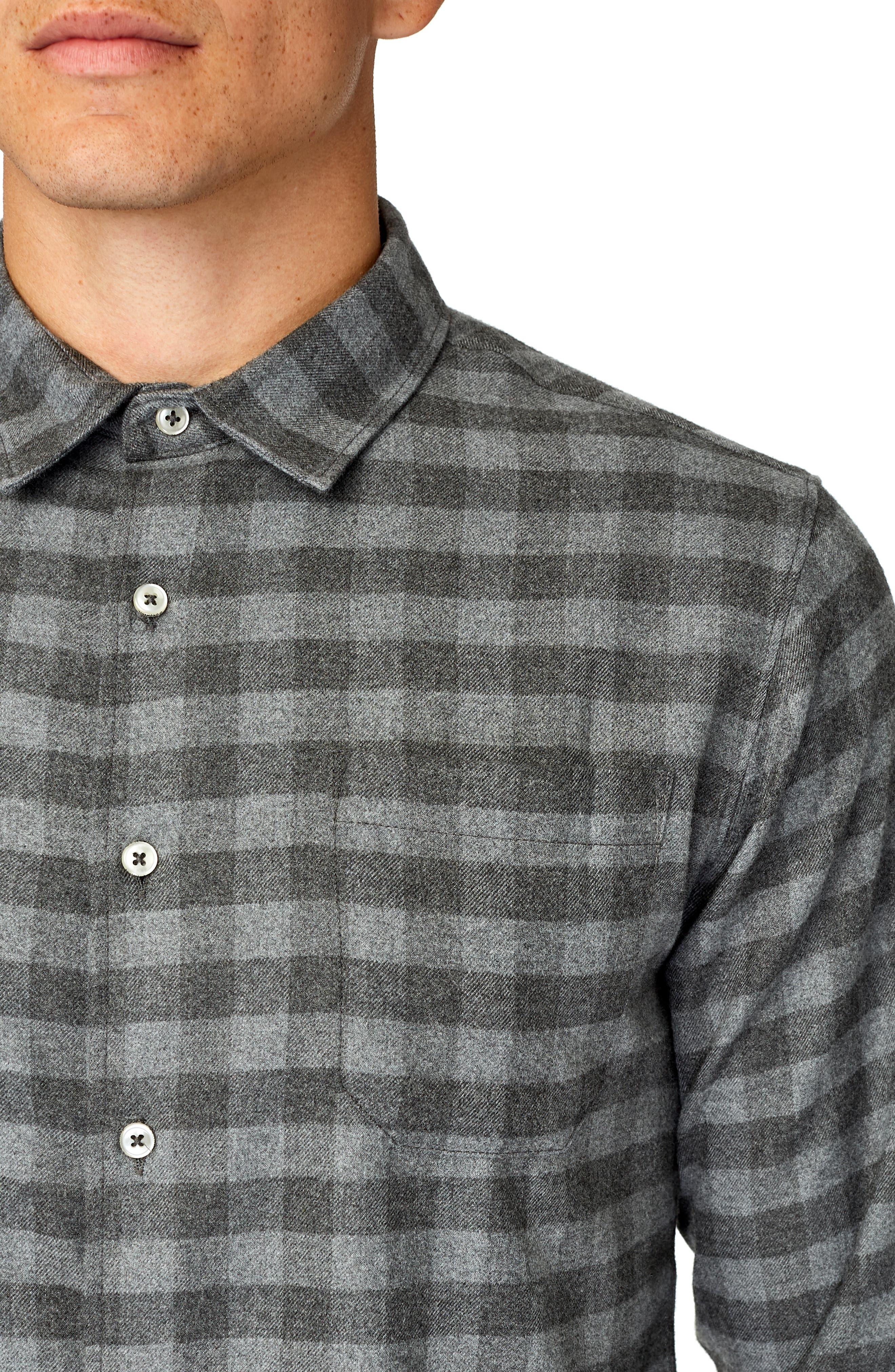 Asher Trim Fit Flannel Shirt,                             Alternate thumbnail 2, color,                             GREY