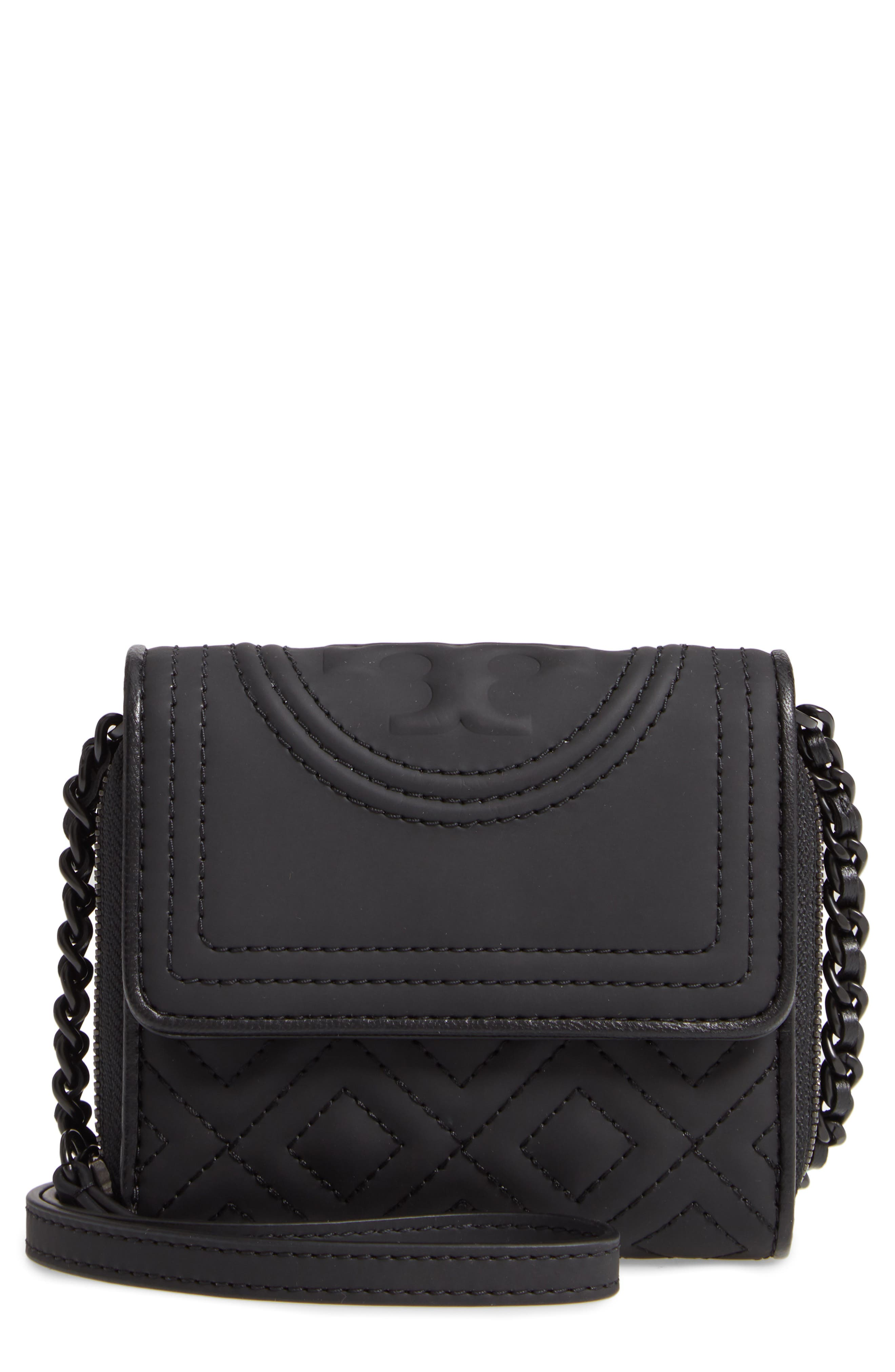 TORY BURCH Mini Fleming Matte Wallet on a Chain, Main, color, BLACK