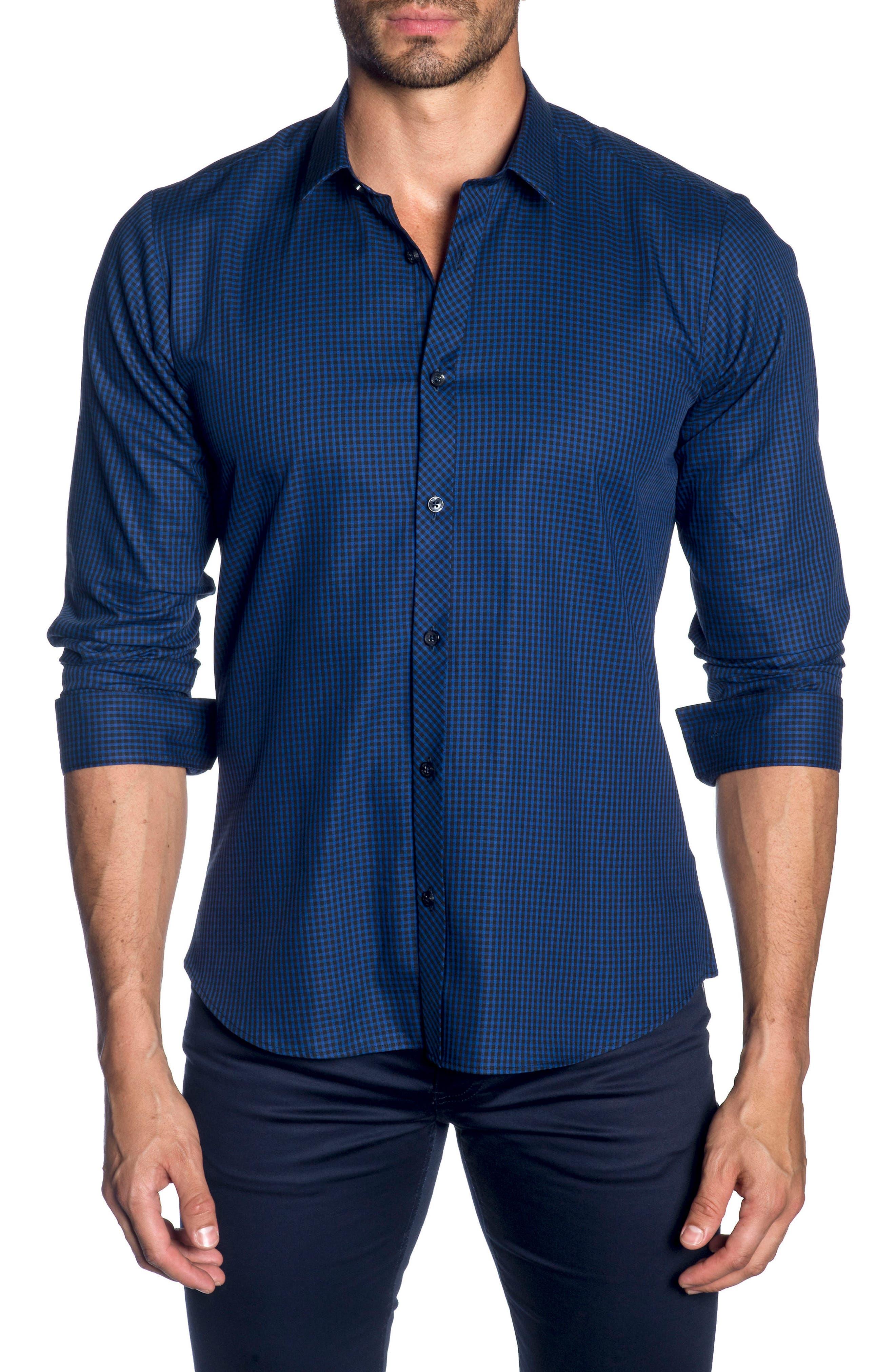 Trim Fit Sport Shirt,                         Main,                         color, BLACK BLUE MICRO CHECK
