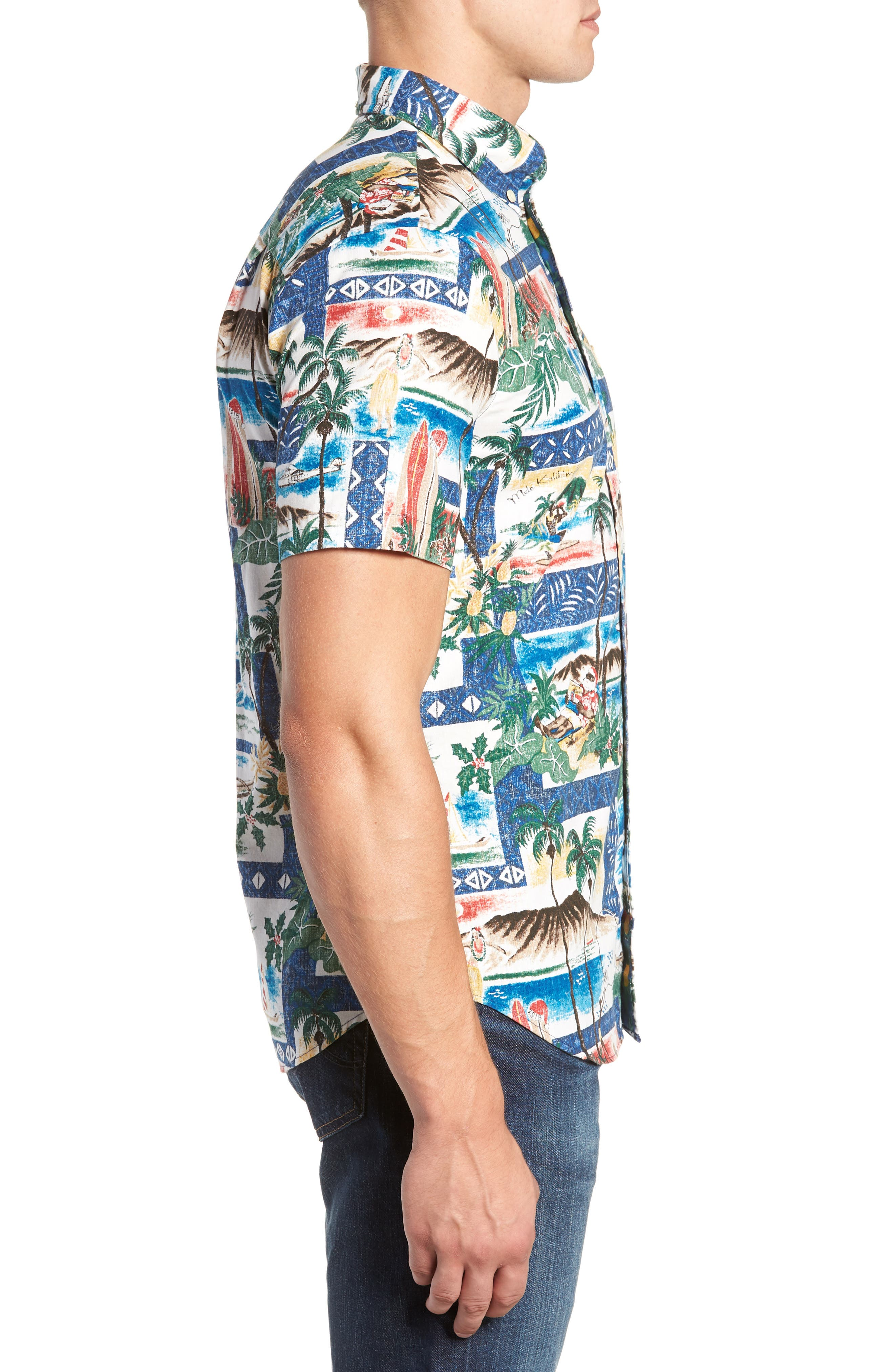 Hawaiian Christmas 2018 Tailored Fit Sport Shirt,                             Alternate thumbnail 4, color,                             ROYAL
