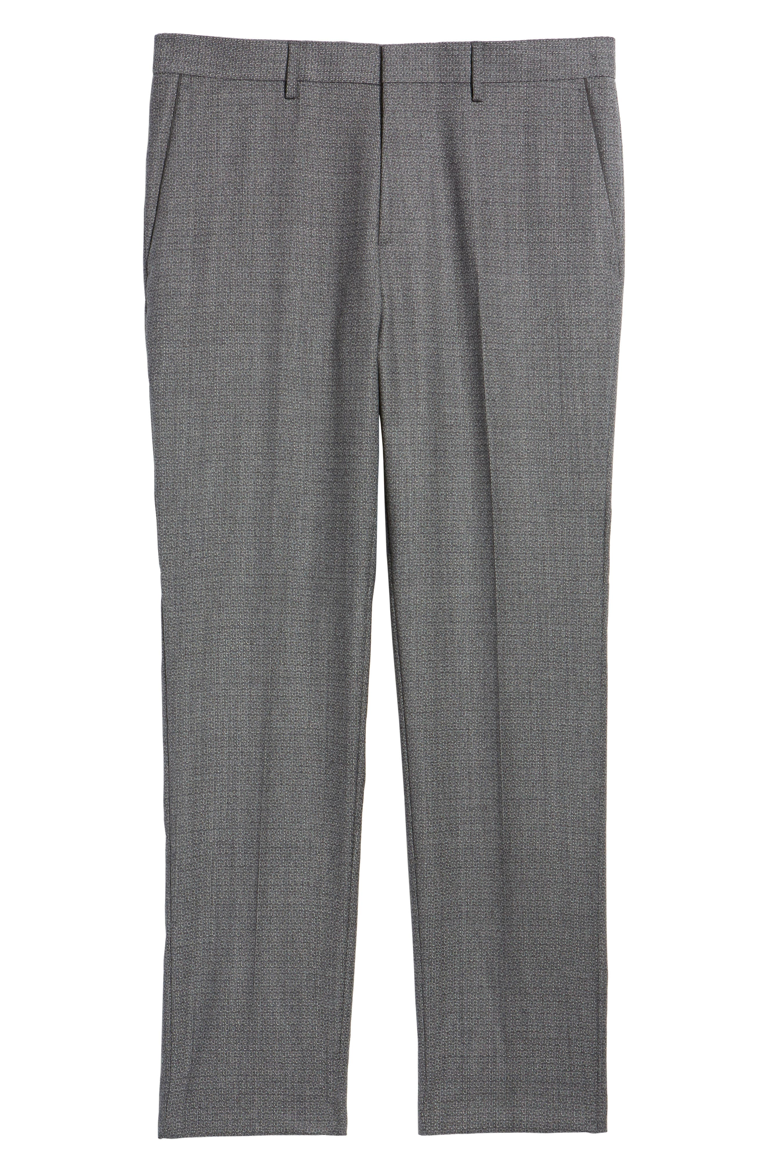 Giro Flat Front Solid Wool Trousers,                             Alternate thumbnail 6, color,                             030
