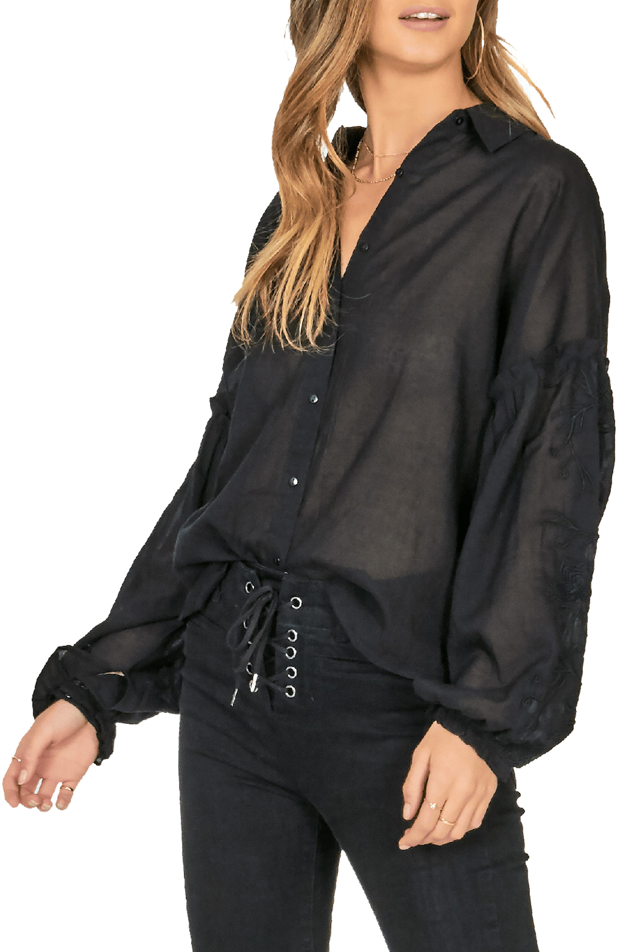 AMUSE SOCIETY Everyday Love Embroidered Blouse in Charcoal