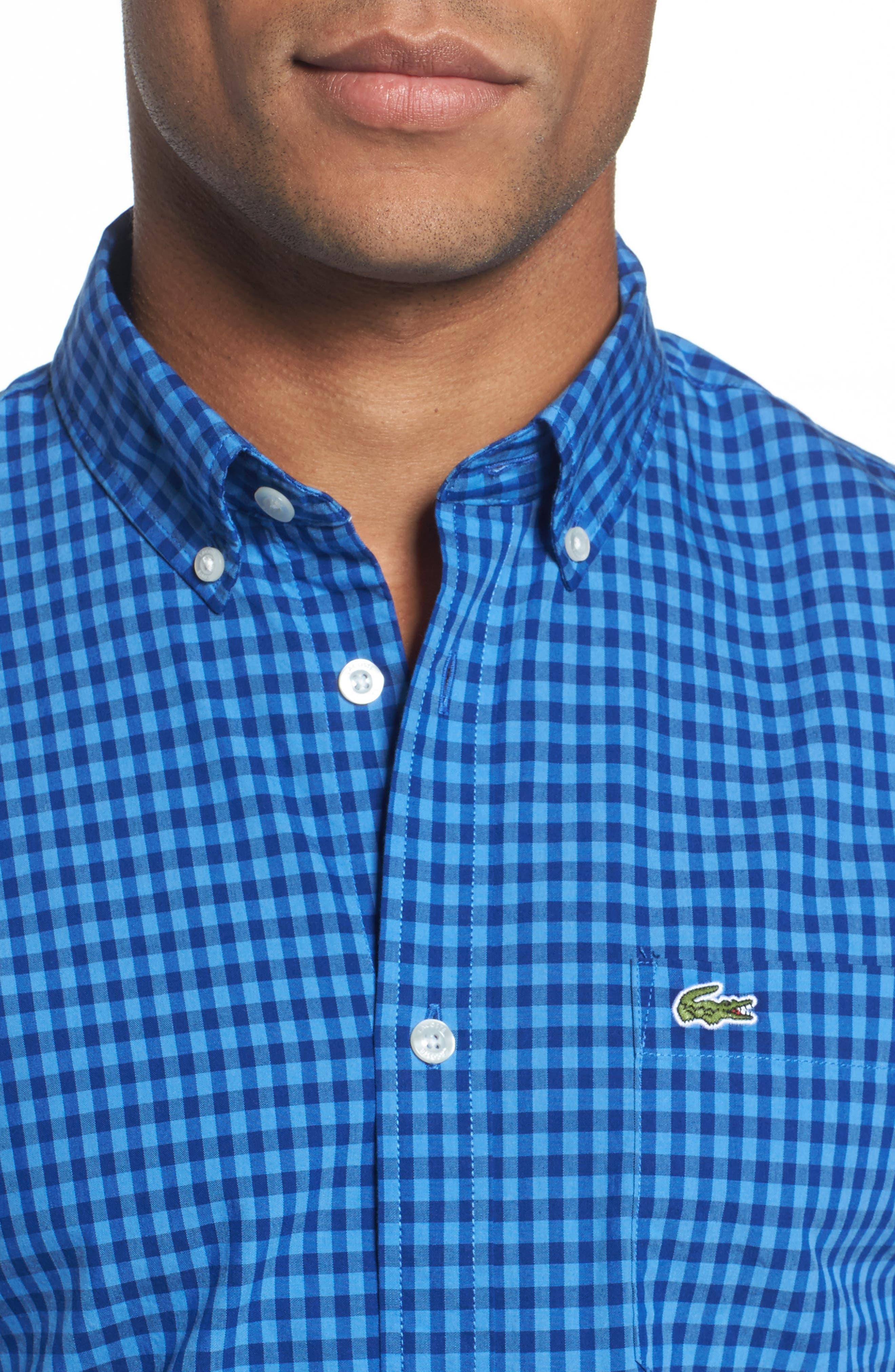 Gingham Check Poplin Shirt,                             Alternate thumbnail 4, color,                             493