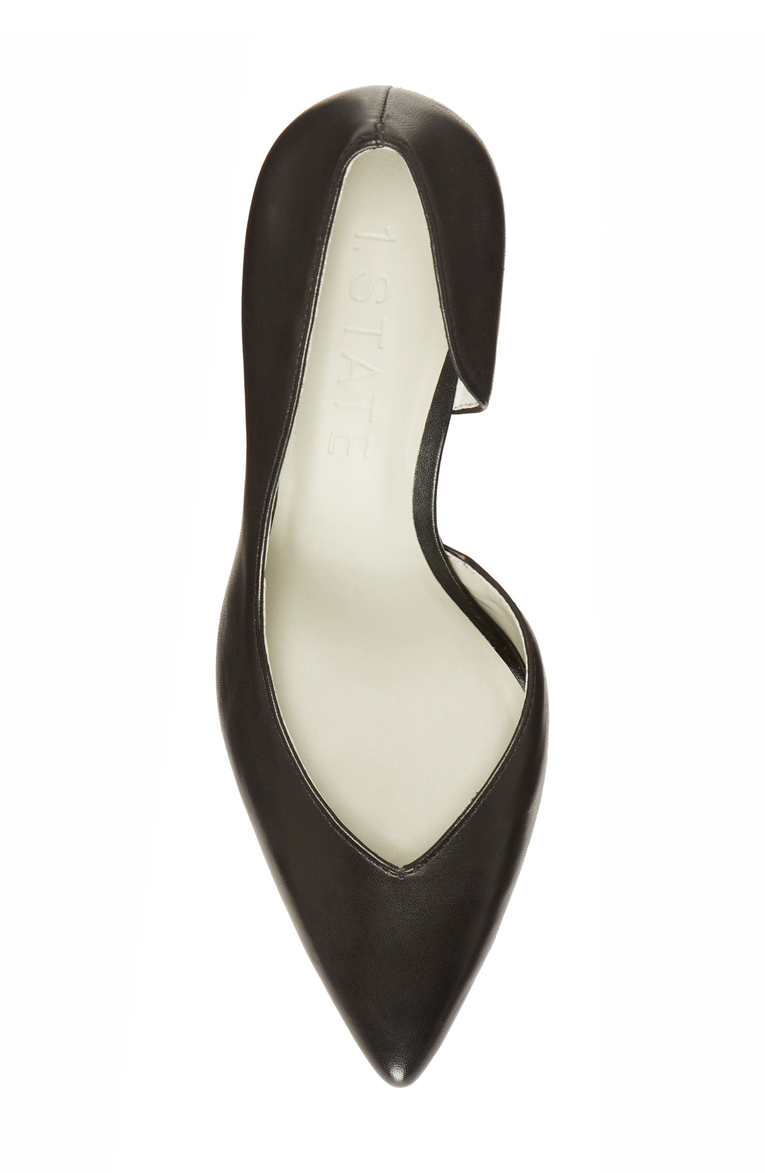 Sisteen Half d'Orsay Pump,                             Alternate thumbnail 5, color,                             BLACK LEATHER