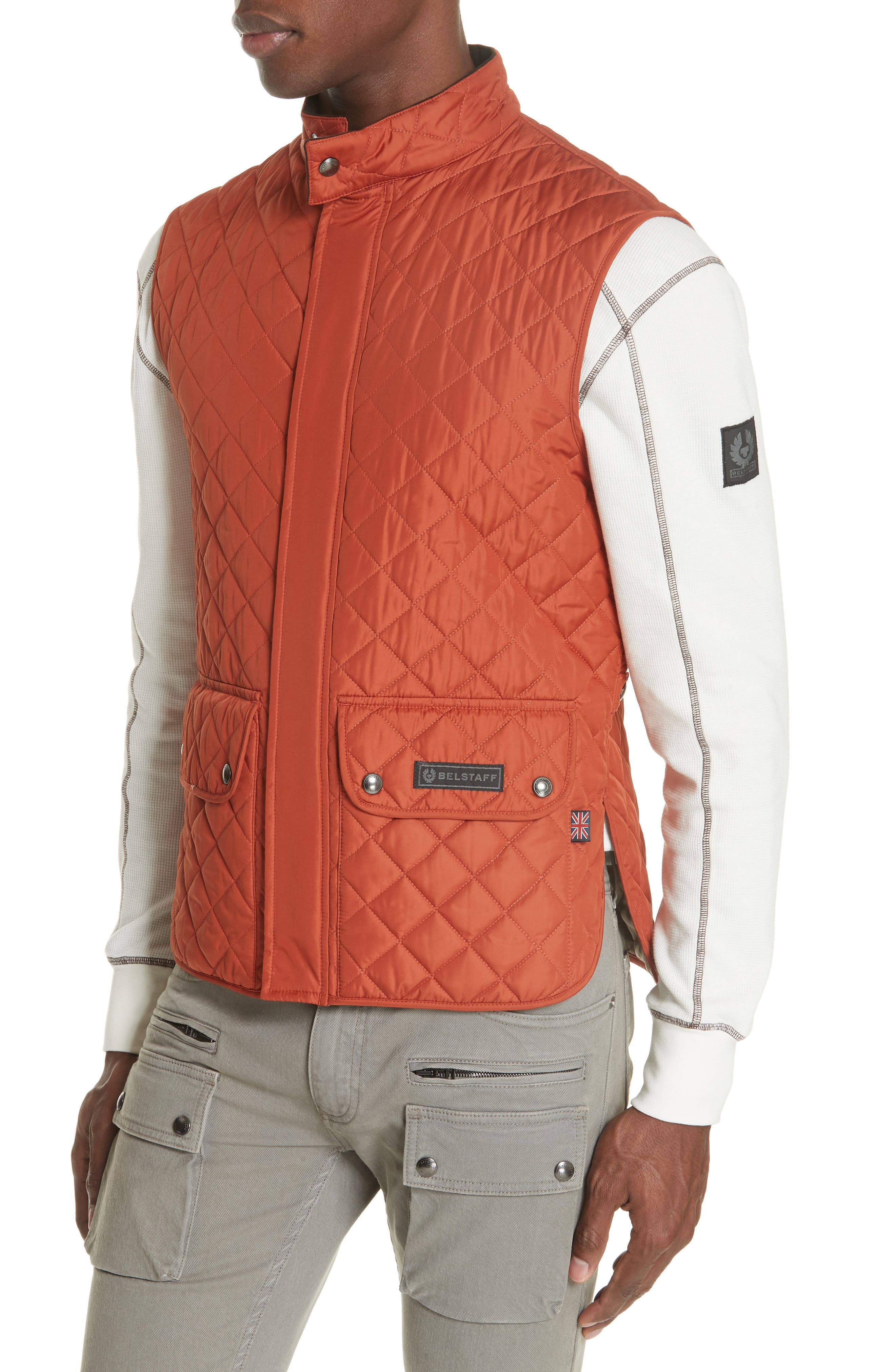 Waistcoat Tech Quilted Vest,                             Alternate thumbnail 4, color,                             BRIGHT TAMERIND