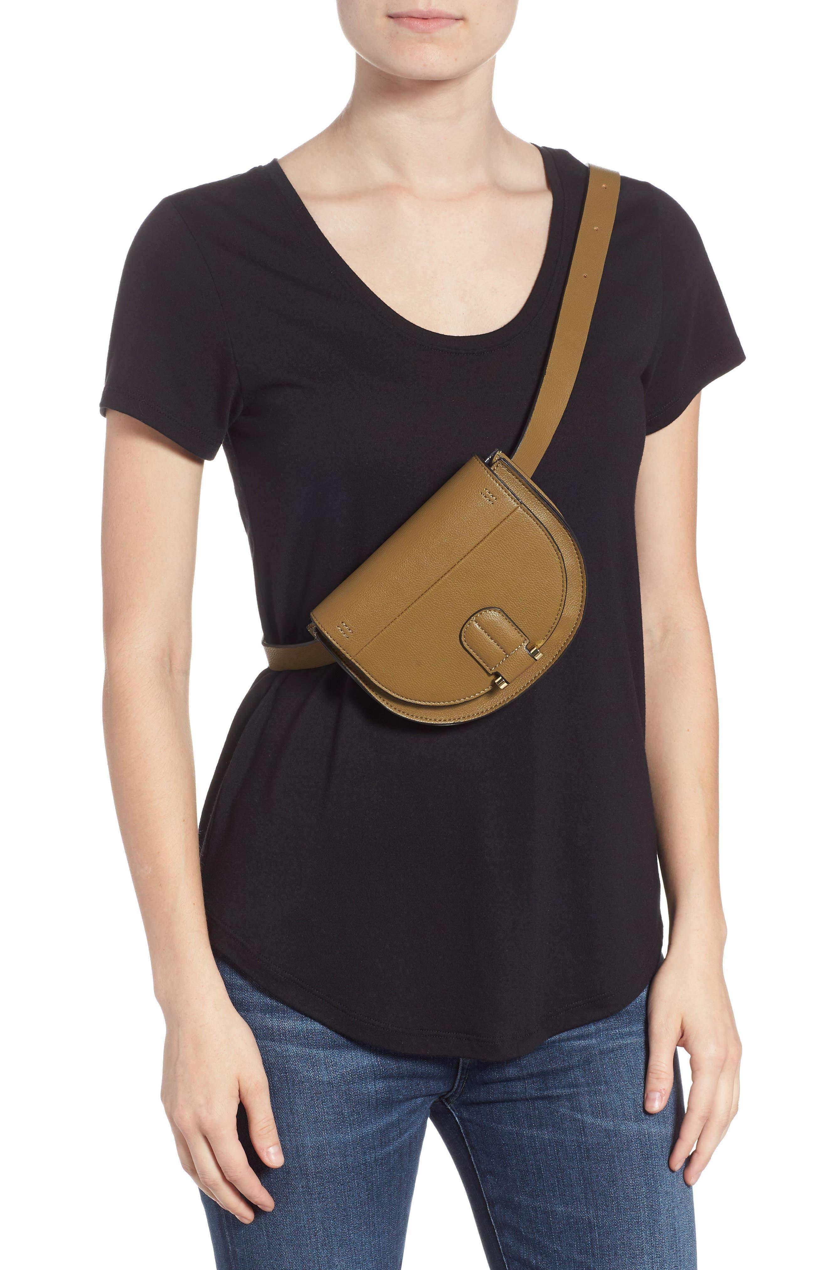 Alissa Faux Leather Belt Bag,                             Alternate thumbnail 3, color,                             OLIVE
