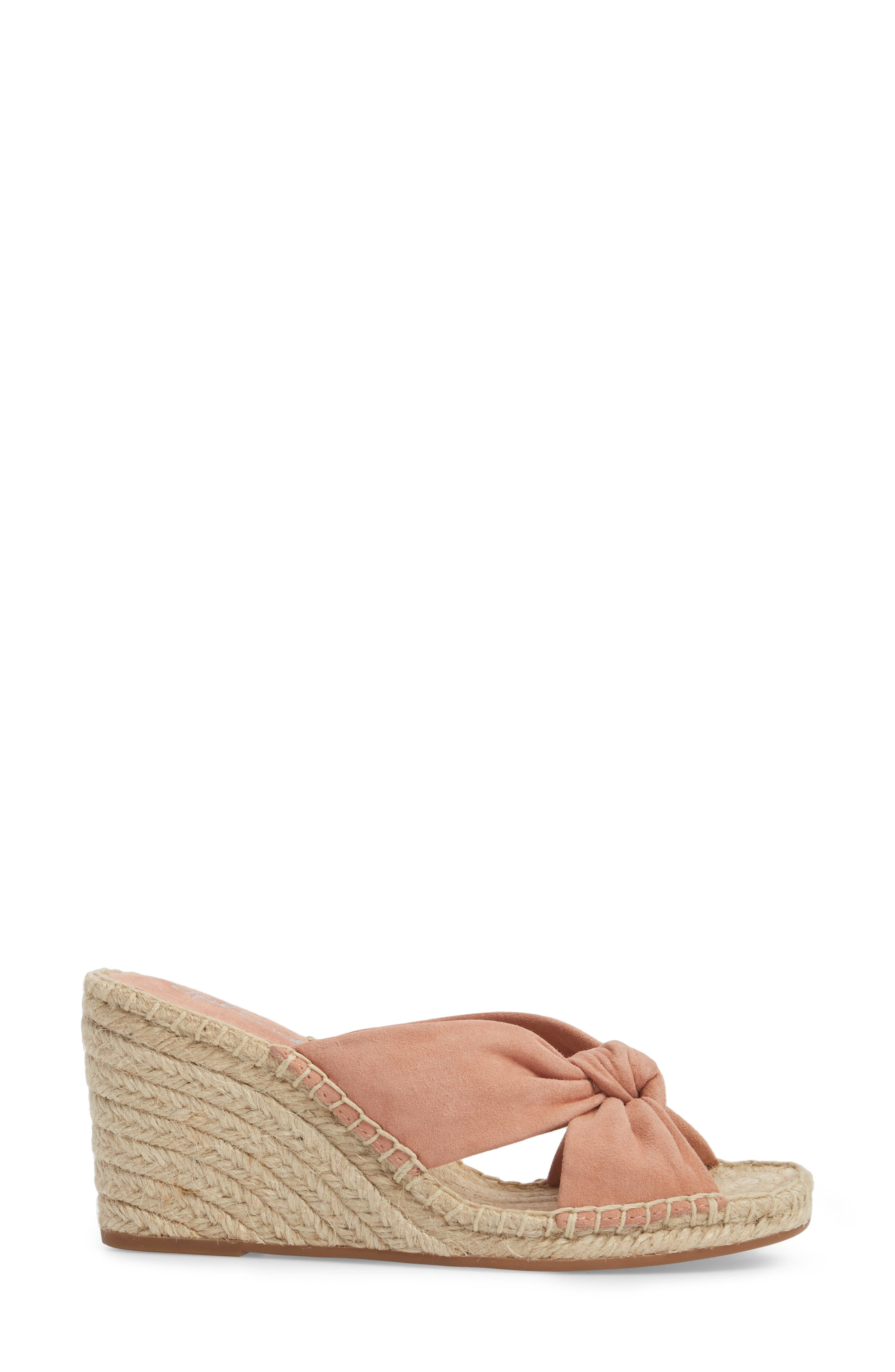 Bautista Knotted Wedge Sandal,                             Alternate thumbnail 3, color,                             DARK BLUSH SUEDE
