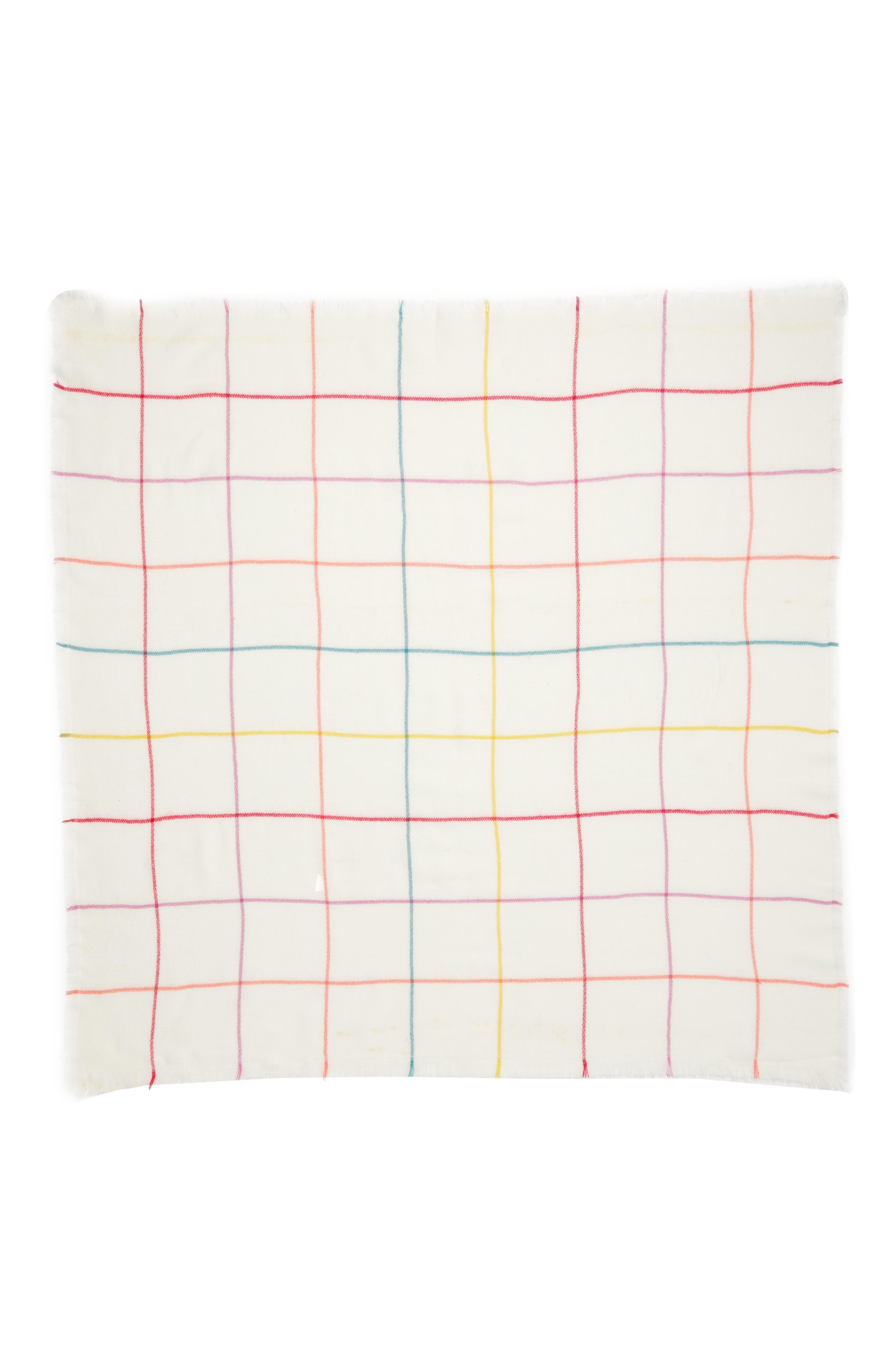 Multicolor Grid Square Scarf,                             Alternate thumbnail 2, color,                             250