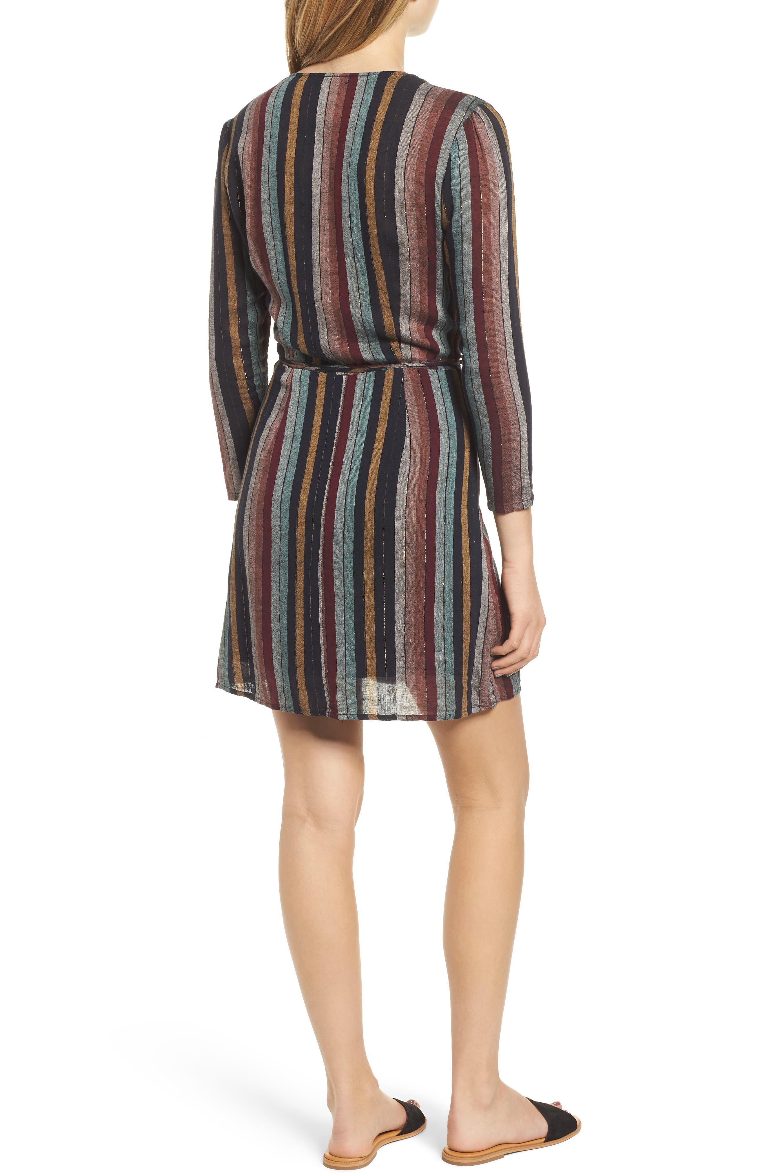 Lola Metallic Wrap Dress,                             Alternate thumbnail 3, color,                             VARADERO STRIPE